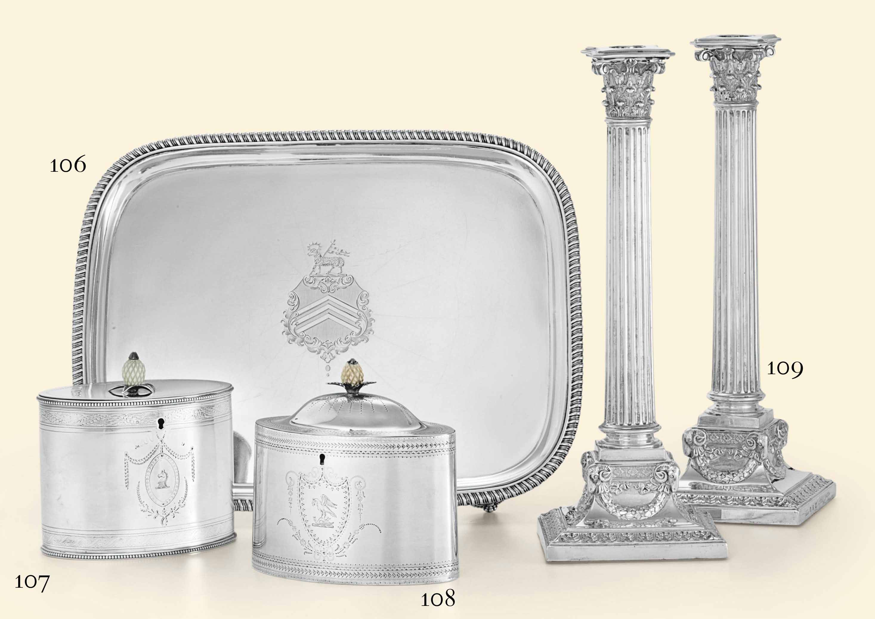 A GEORGE III SILVER TEA CADDY**