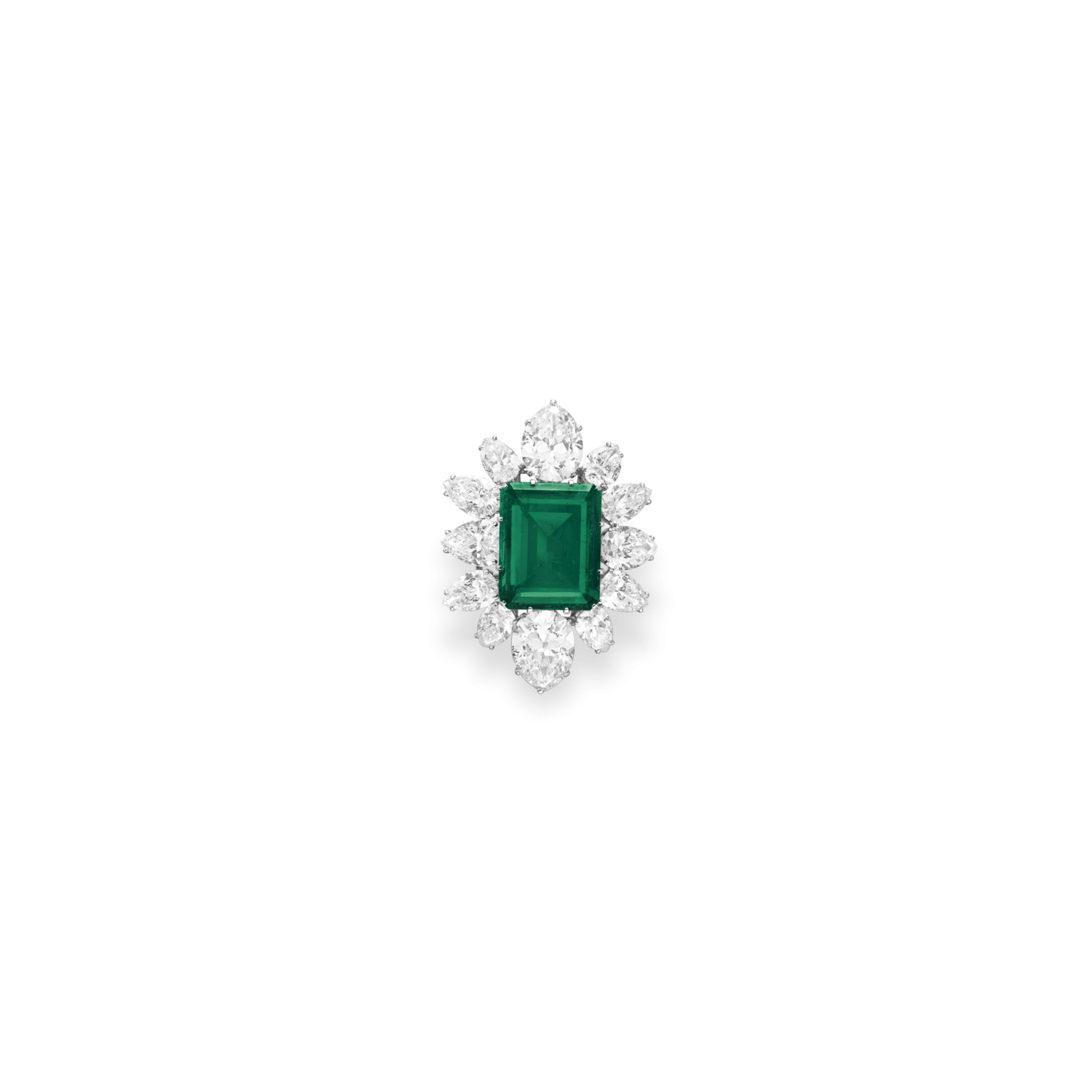 AN EMERALD AND DIAMOND PENDANT BROOCH, BY BVLGARI