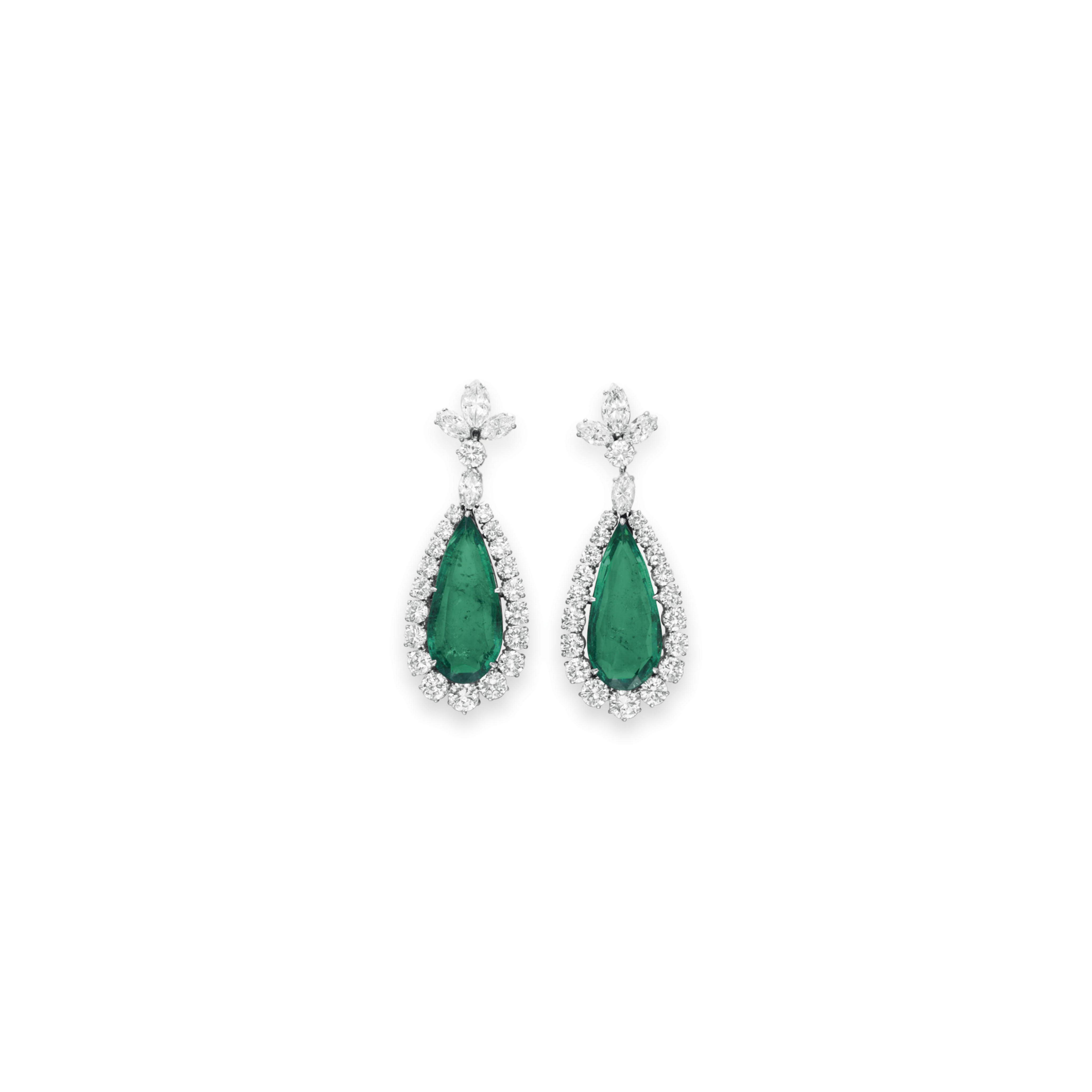 A PAIR OF EMERALD AND DIAMOND EAR PENDANTS, BY BVLGARI