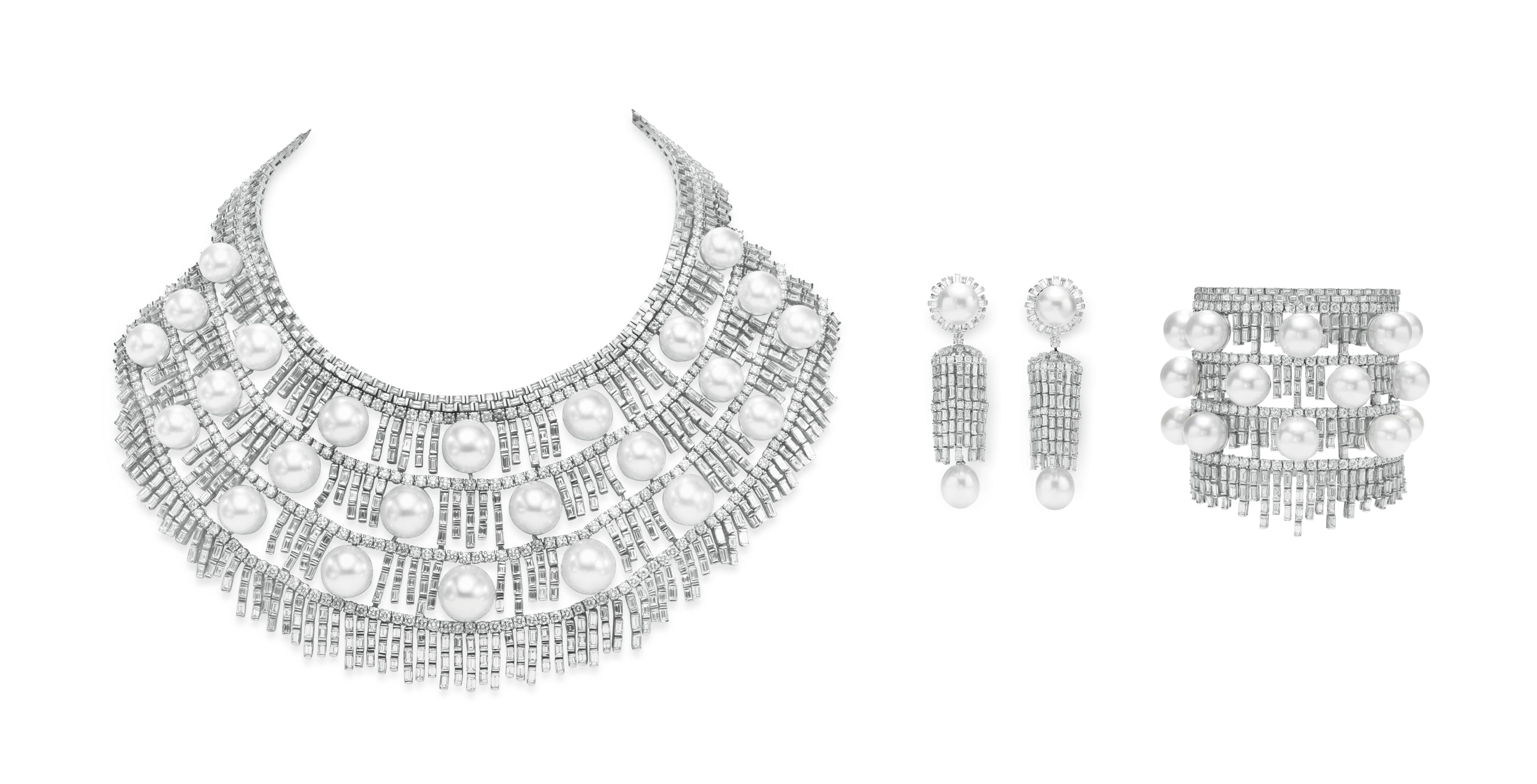 """A SUITE OF DIAMOND AND CULTURED PEARL """"FROST"""" JEWELRY, BY HOUSE OF TAYLOR"""