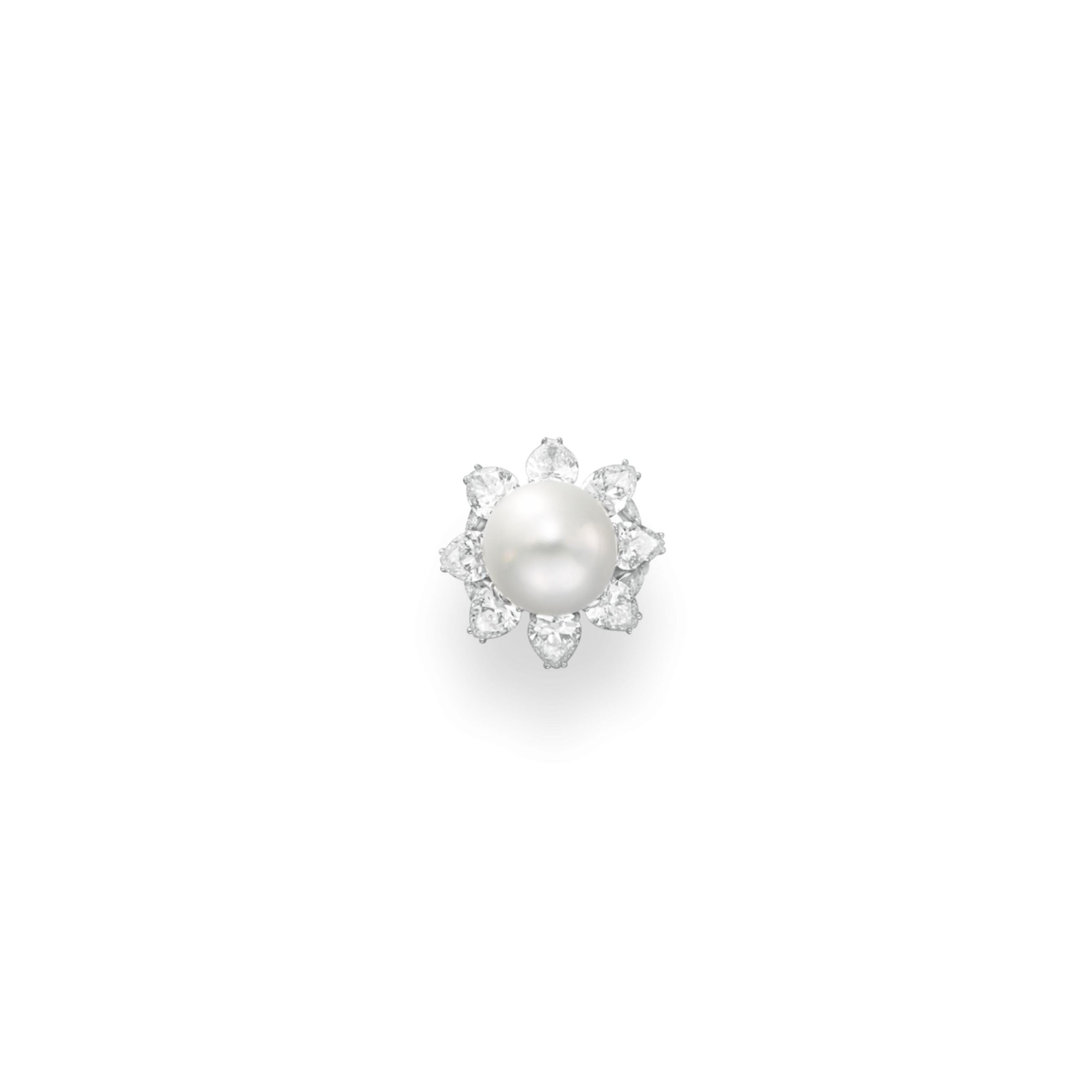 A CULTURED PEARL AND DIAMOND RING, BY RUSER