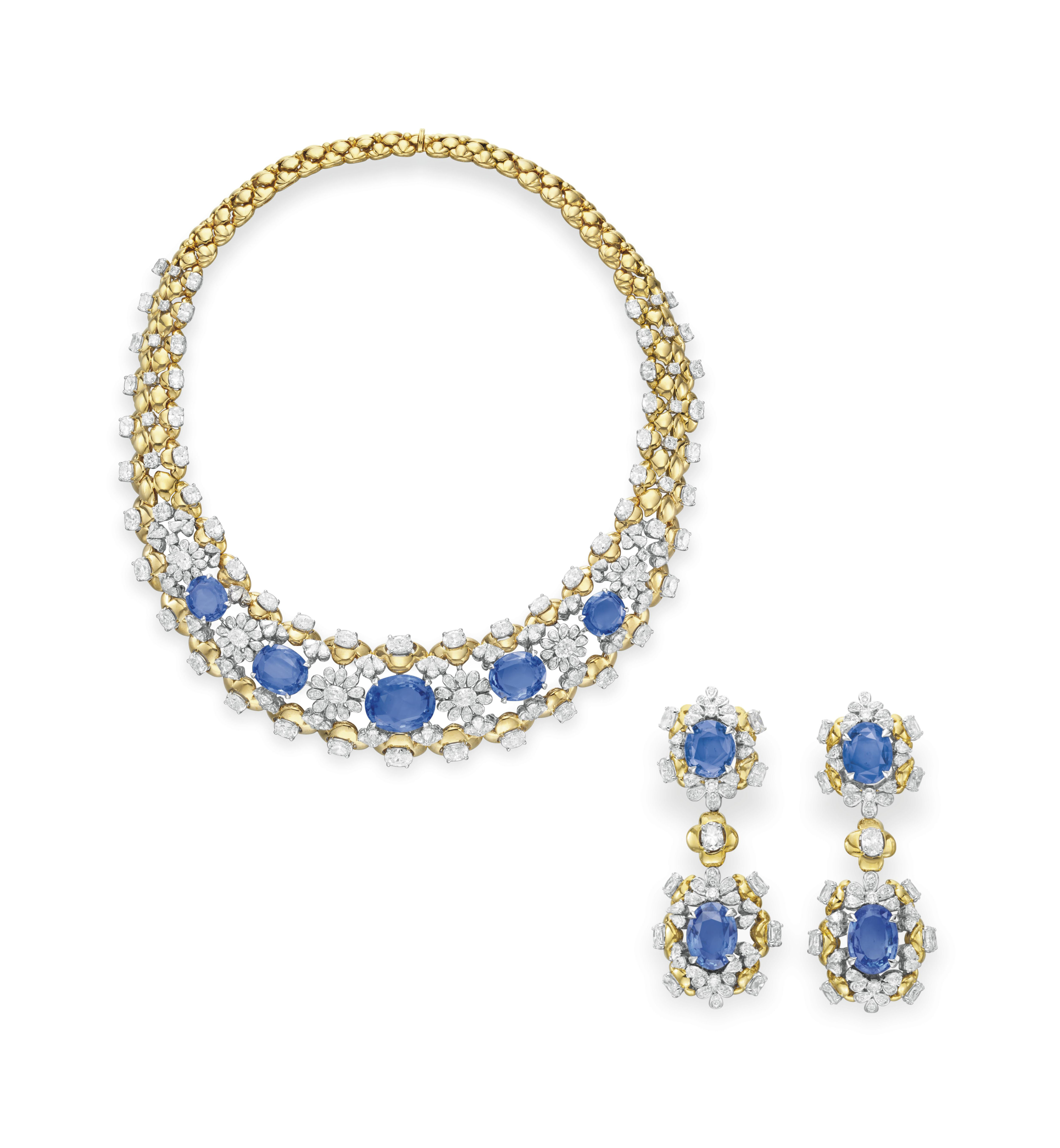 A SET OF SAPPHIRE, DIAMOND AND GOLD JEWELRY, BY MOUAWAD