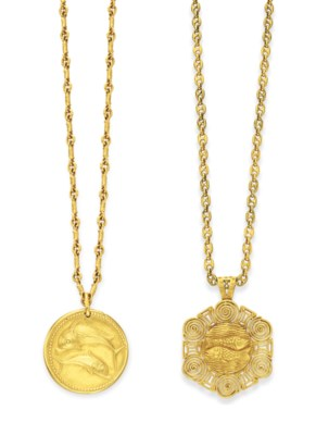 Two gold zodiac pendants by van cleef arpels jewelry pendant lot 105 mozeypictures Images