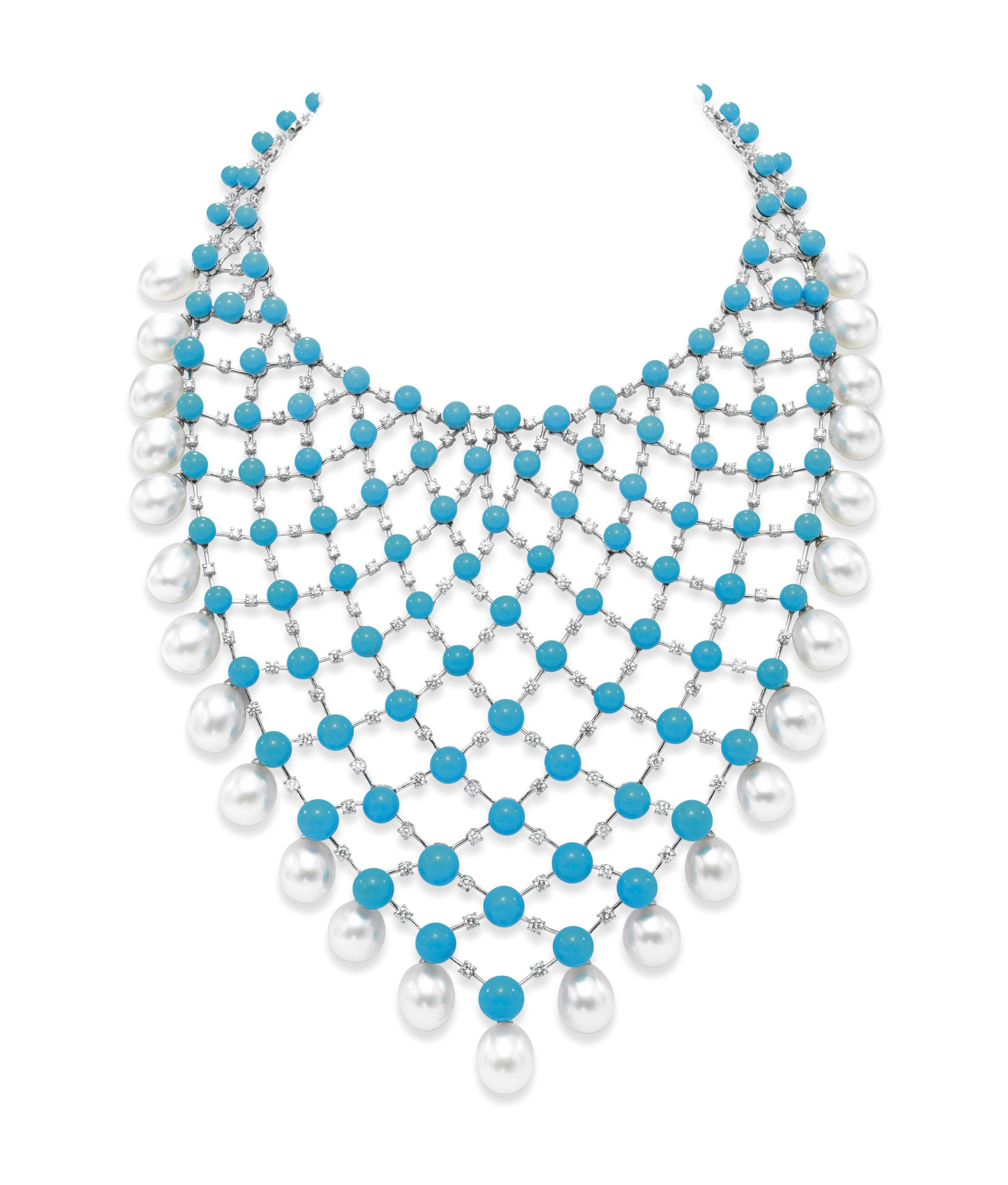 A DIAMOND, TURQUOISE AND CULTURED PEARL NECKLACE, BY HOUSE OF TAYLOR