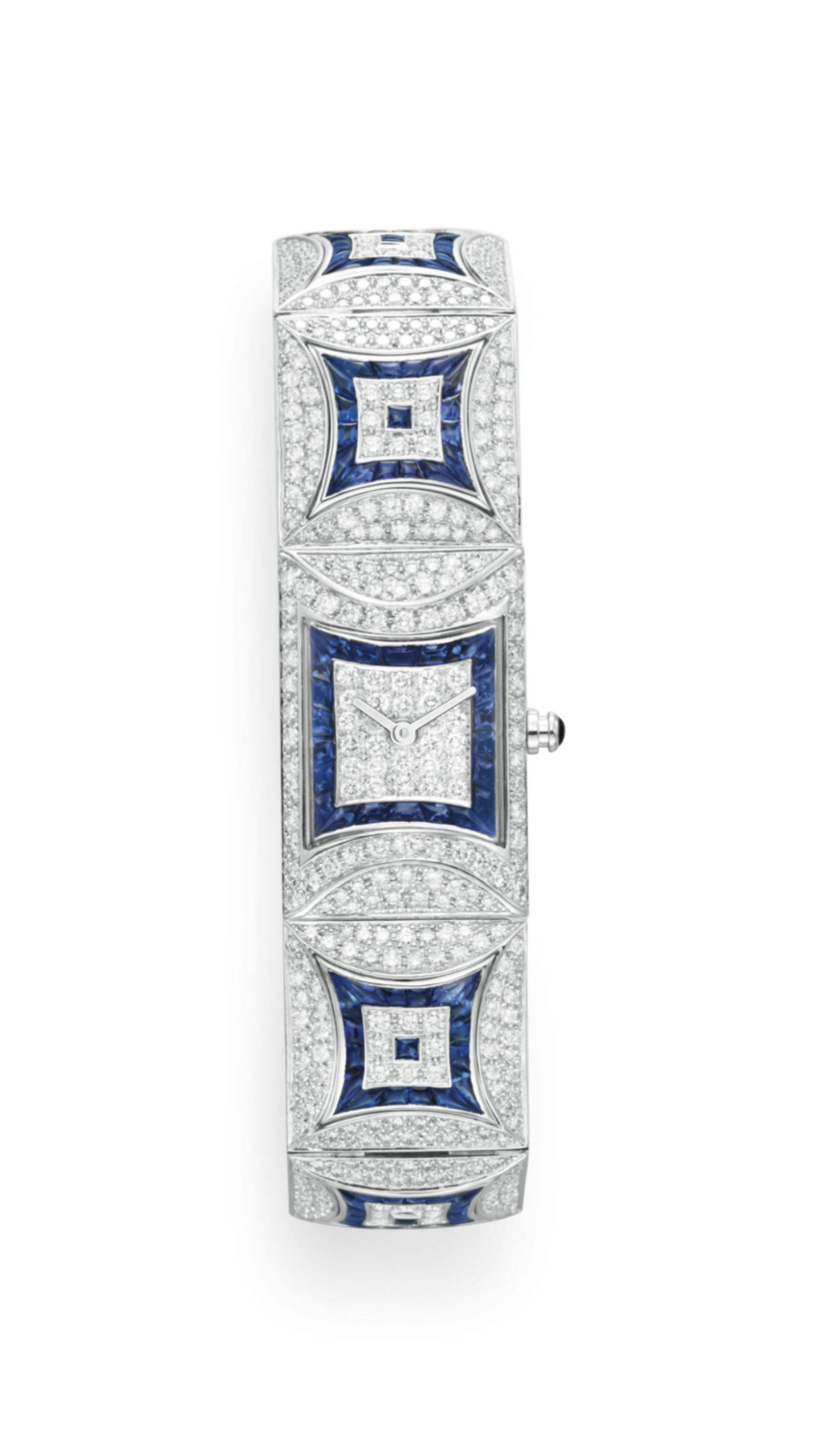 A DIAMOND AND SAPPHIRE WRISTWATCH, BY FRED