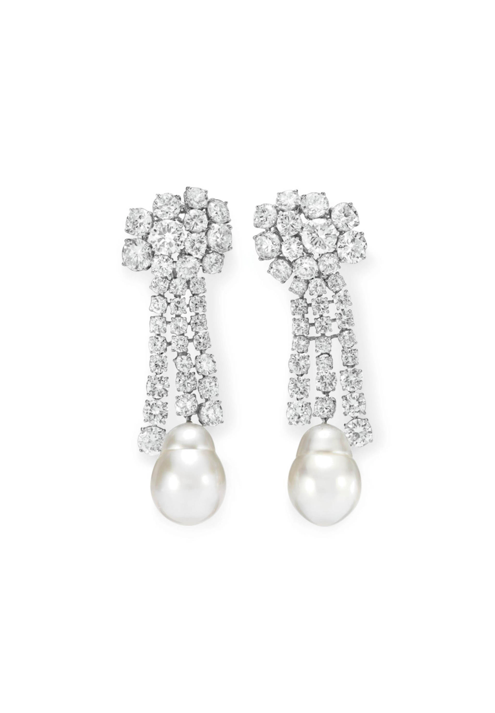 A PAIR OF DIAMOND AND CULTURED PEARL EAR PENDANTS, BY RUSER