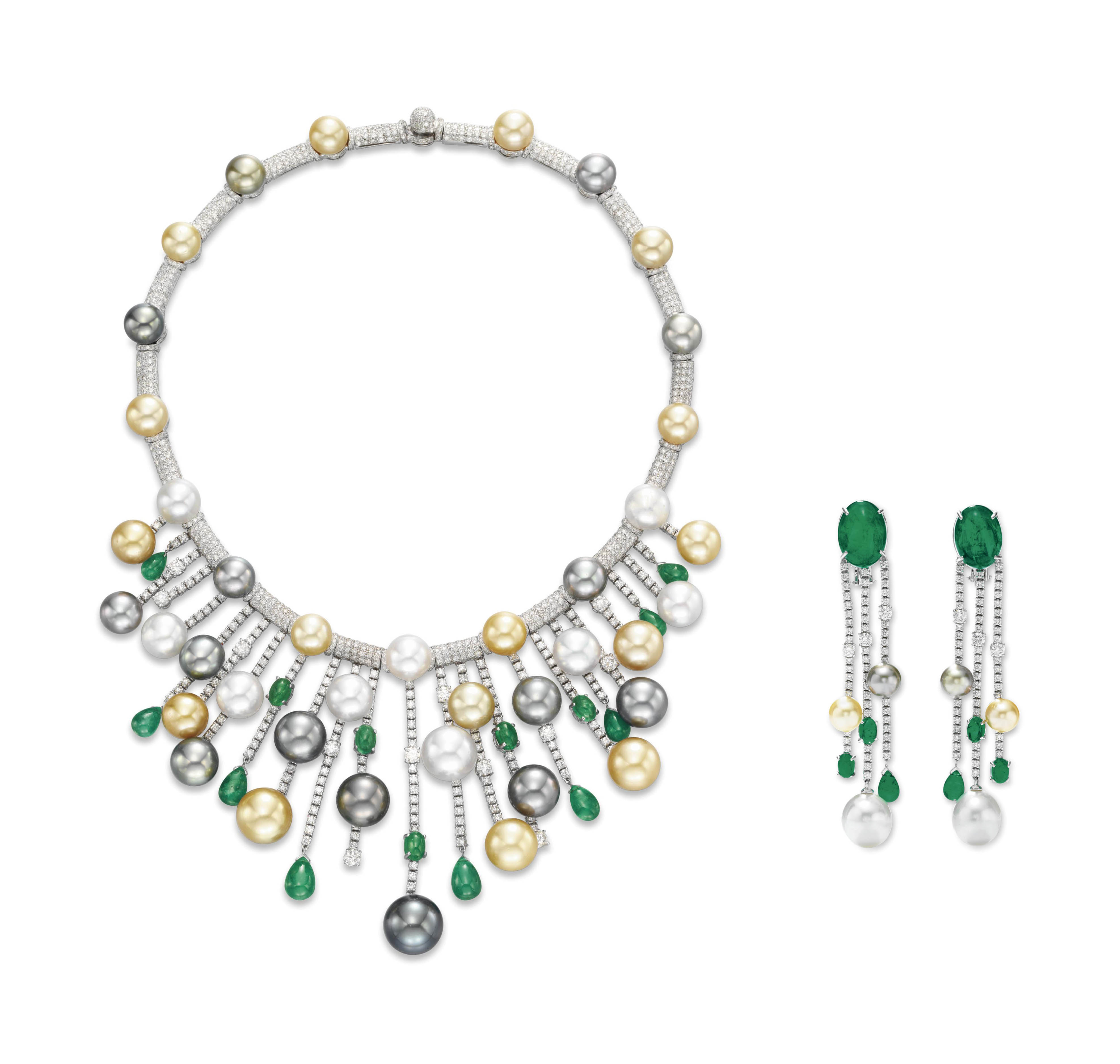 A SET OF DIAMOND, EMERALD AND CULTURED PEARL JEWELRY, BY HOUSE OF TAYLOR