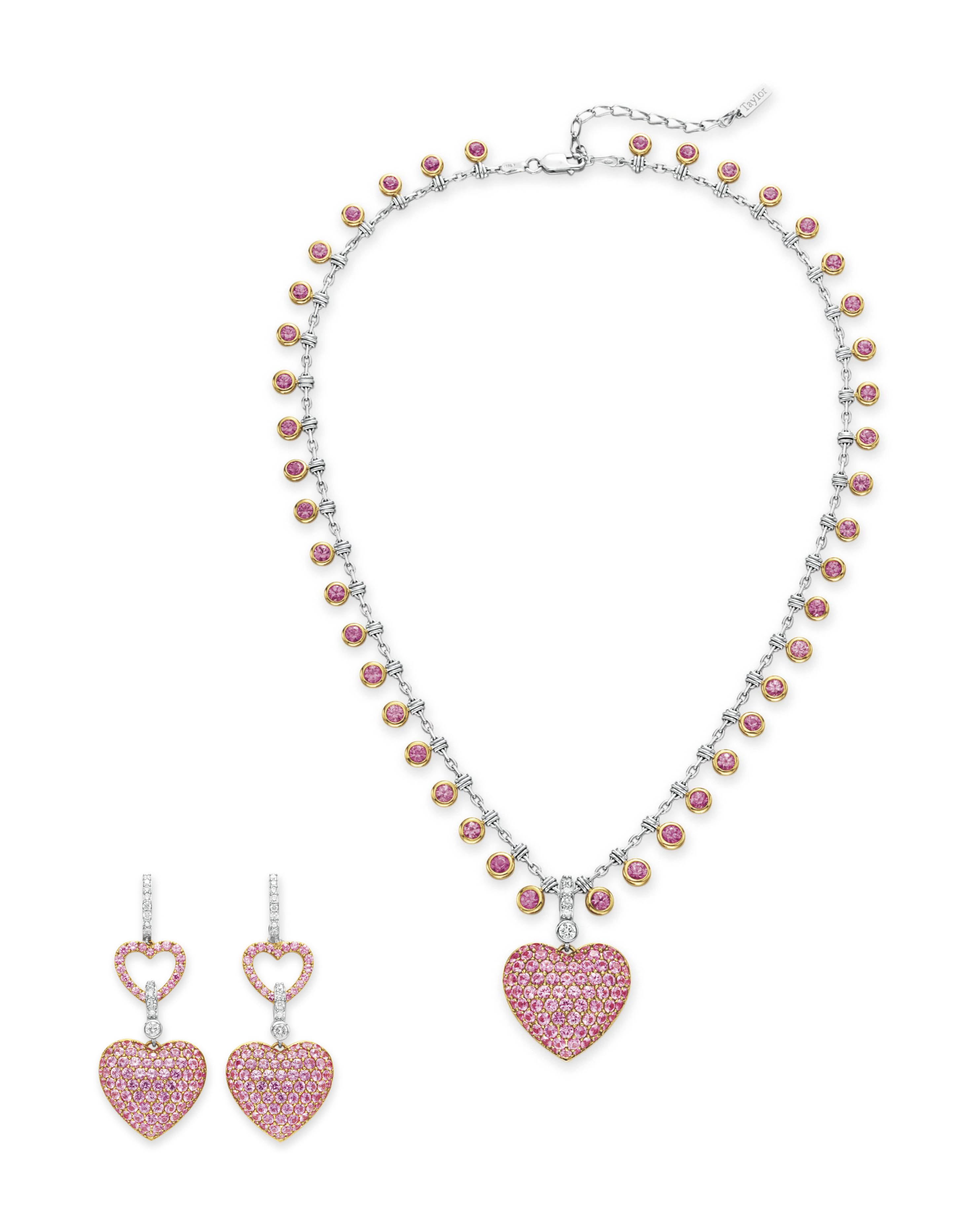 A SET OF DIAMOND AND PINK SAPPHIRE JEWELRY, BY HOUSE OF TAYLOR