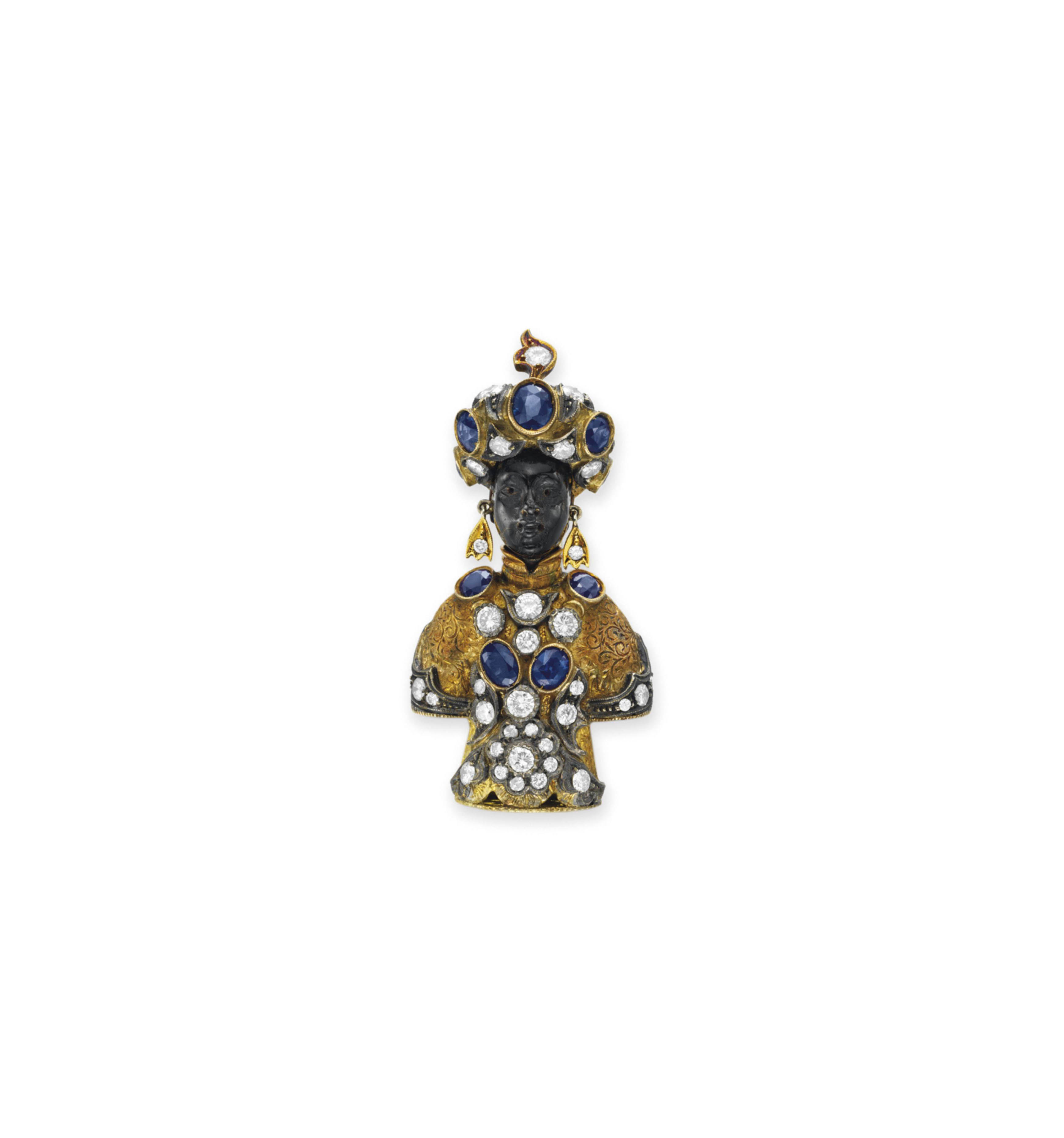 A DIAMOND, SAPPHIRE AND GOLD BLACKAMOOR BROOCH, BY NARDI