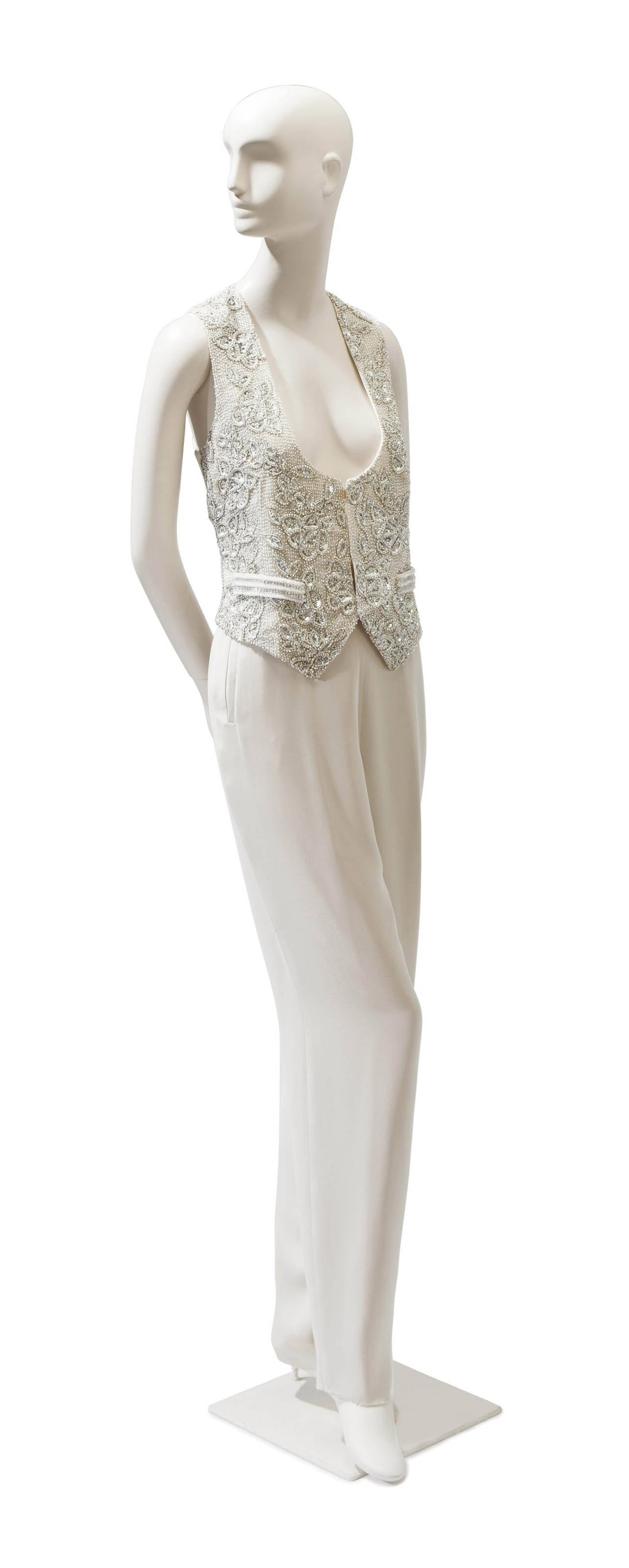 A GIORGIO ARMANI SILVER AND WHITE SEQUINNED AND BEADED WAISTCOAT VEST WITH SILK TROUSERS