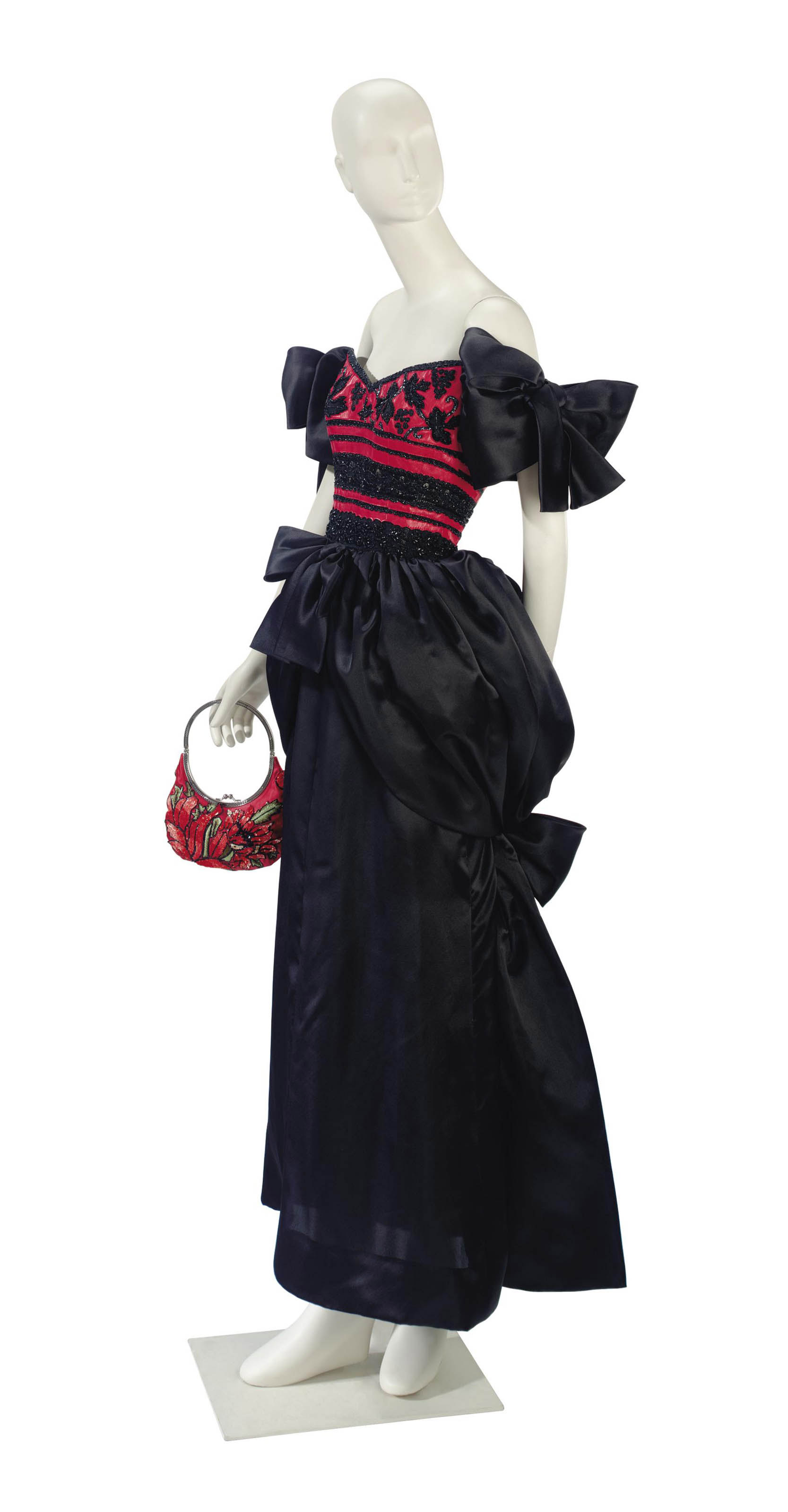 A GIVENCHY EVENING GOWN AND VALENTINO SATIN EVENING BAG