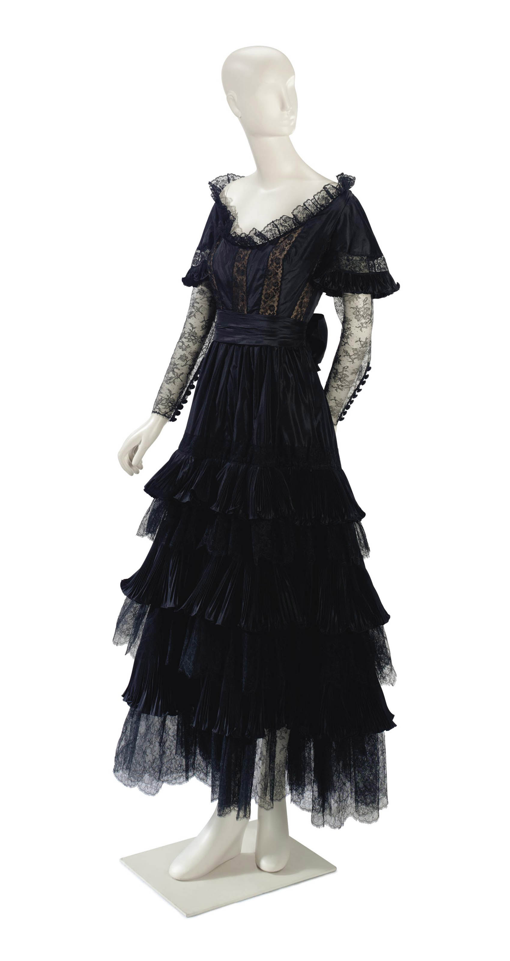 A VALENTINO BLACK LACE STAGE GOWN