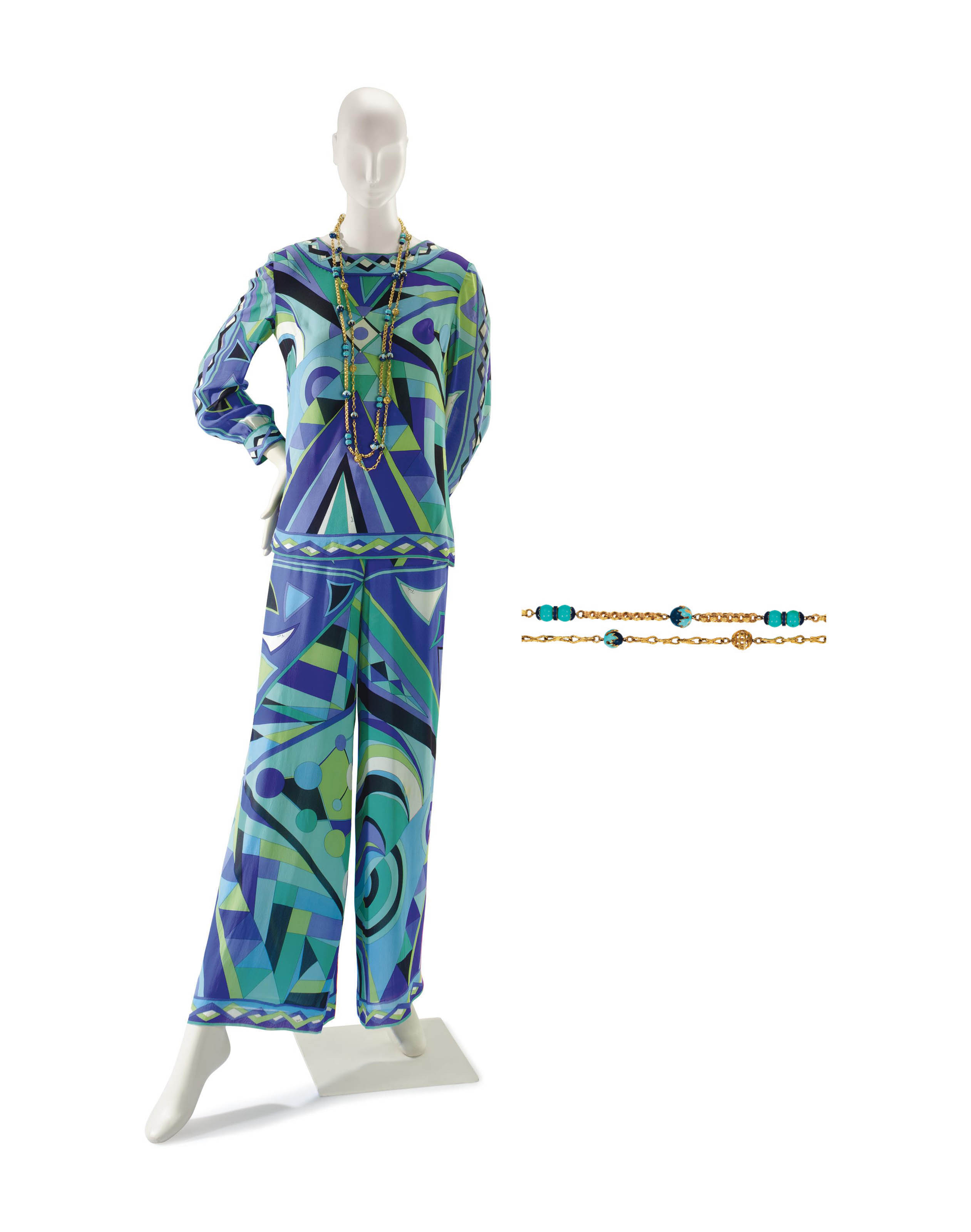 AN EMILIO PUCCI PURPLE, BLUE AND GREEN PRINT SILK ENSEMBLE WITH TWO BEADED SAUTOIRS