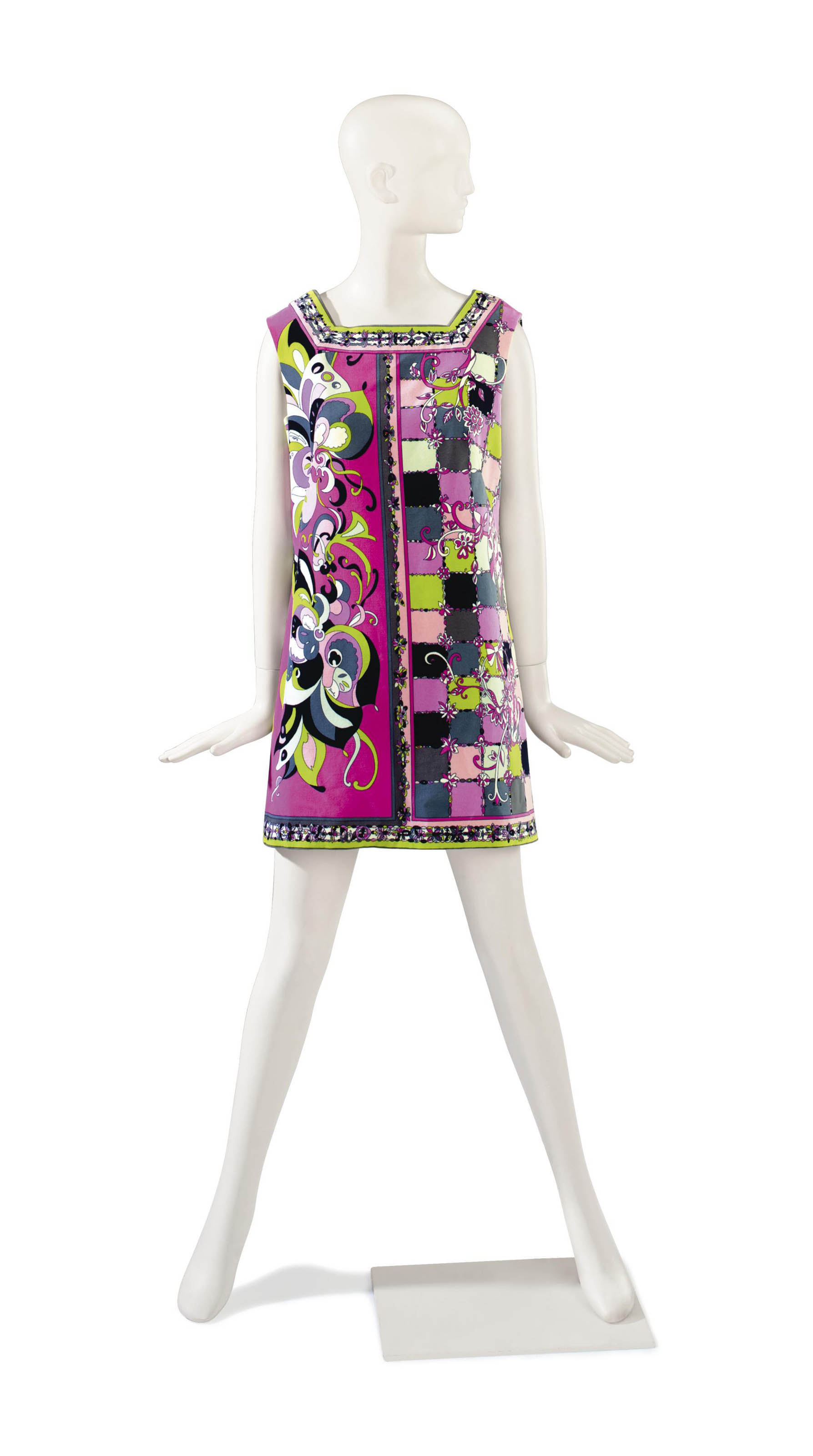 AN EMILIO PUCCI PINK AND MULTI-COLORED PRINT VELVET DRESS WITH MATCHING NYLONS