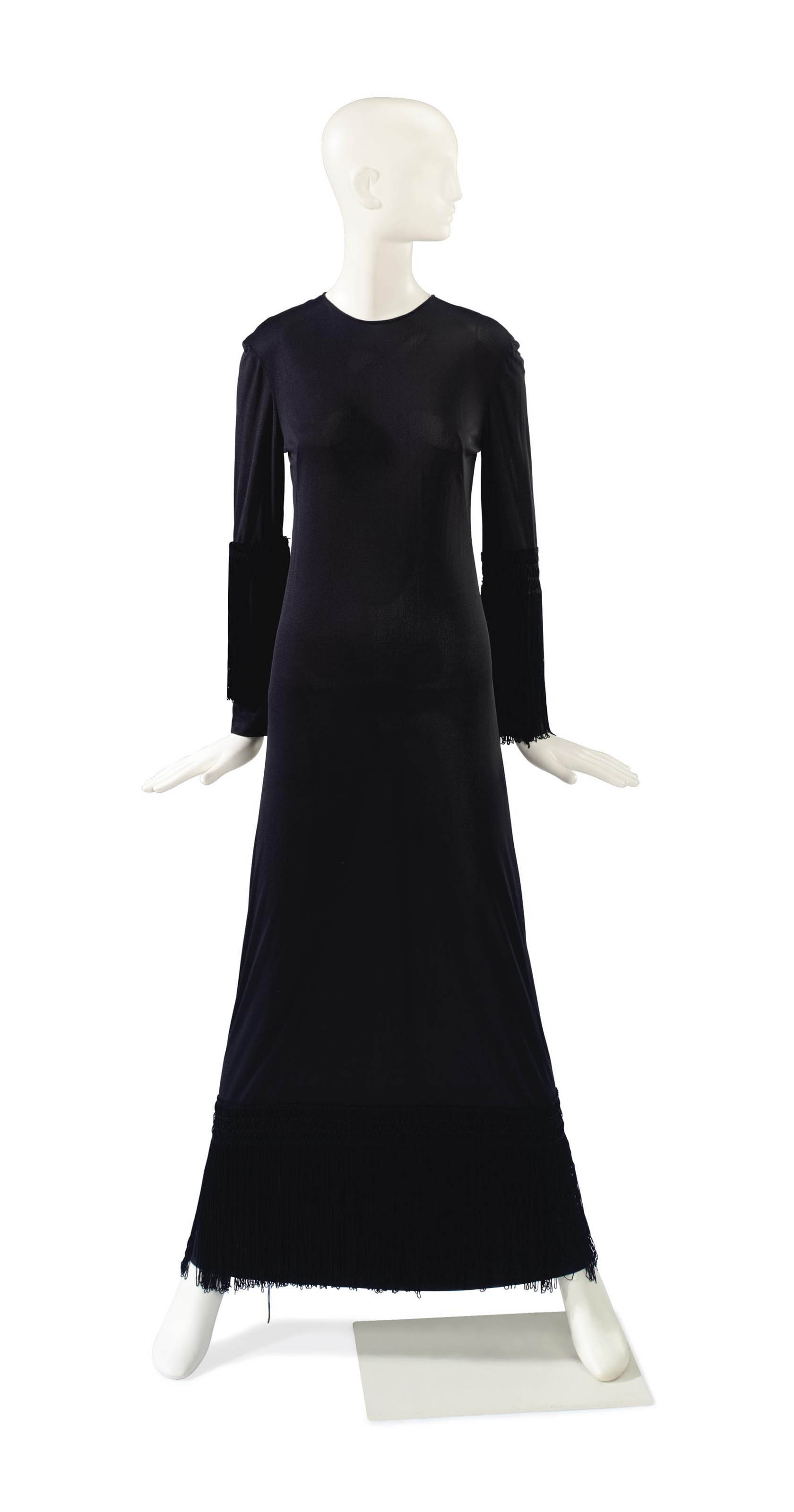 AN EMILIO PUCCI BLACK SILK JERSEY FRINGE TRIMMED EVENING GOWN