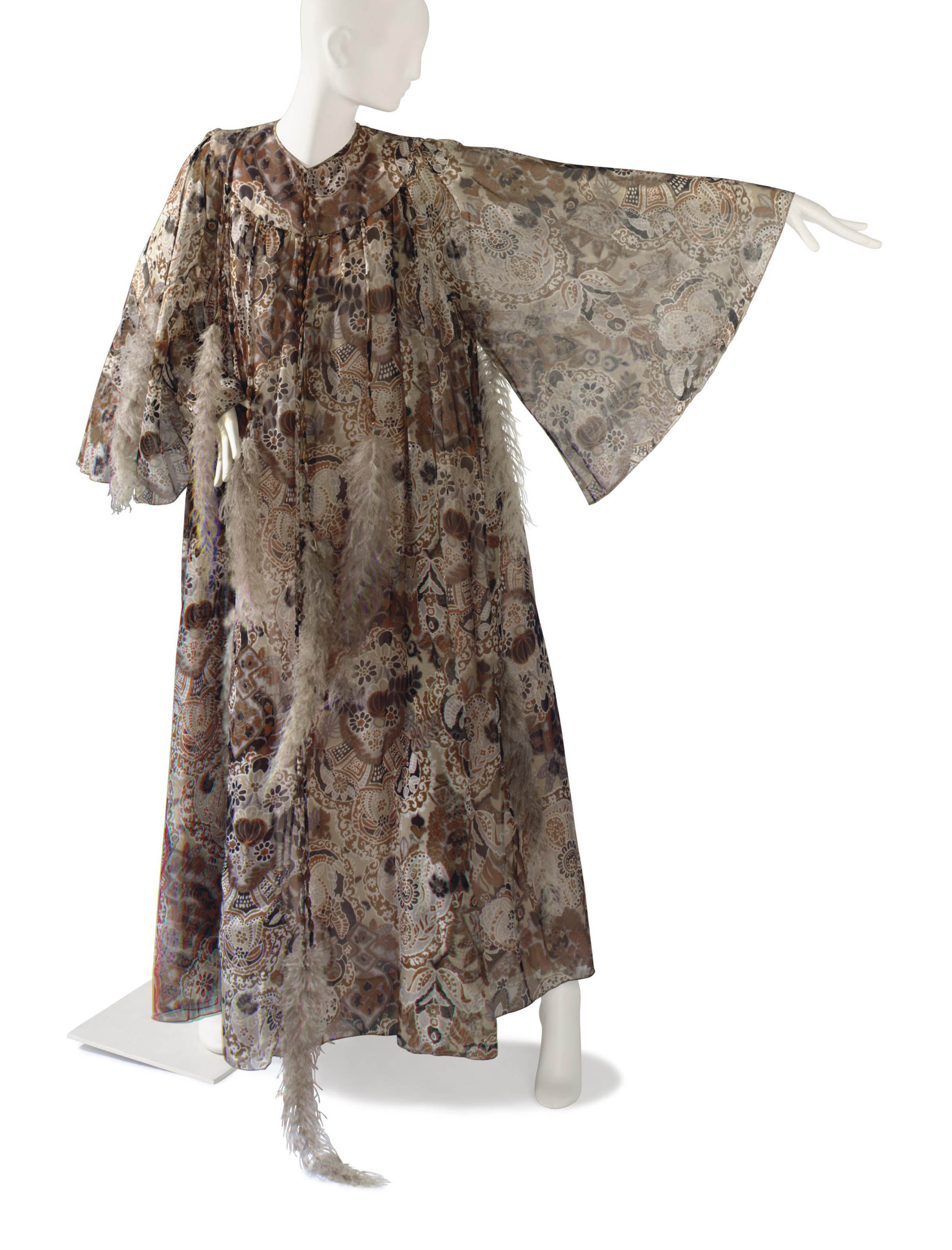 A GINA FRATINI BROWN AND GREY PRINT CHIFFON, BEAD AND FEATHER ADORNED CAFTAN