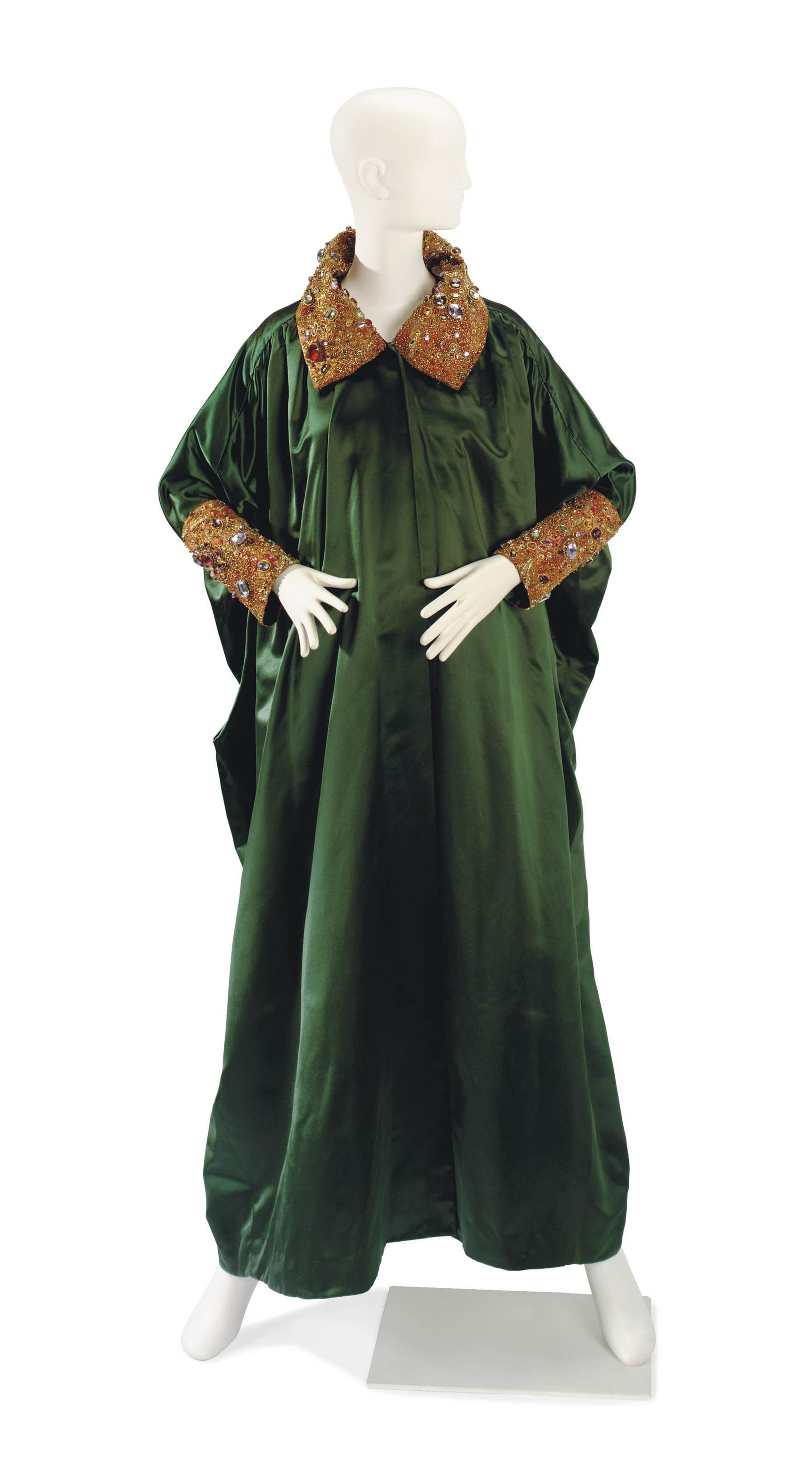 A BILL BLASS EMERALD GREEN SATIN AND RHINESTONE EMBROIDERED EVENING COAT