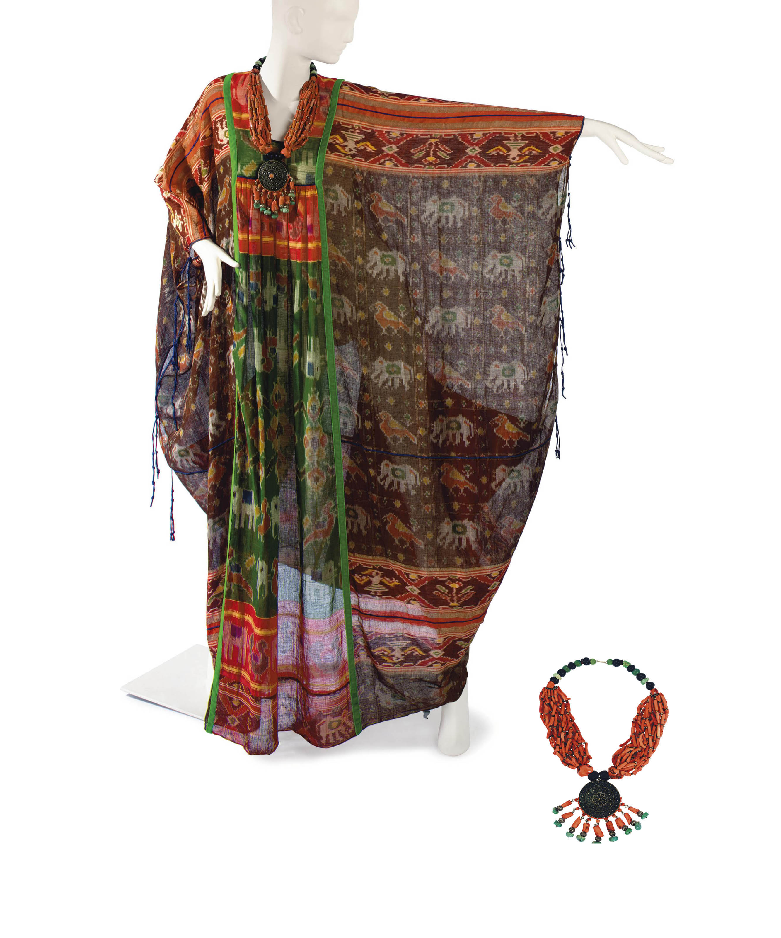A THEA PORTER CAFTAN OF COTTON IKAT WITH ASSOCIATED TRADITIONAL MULTI-STRAND NECKLACE