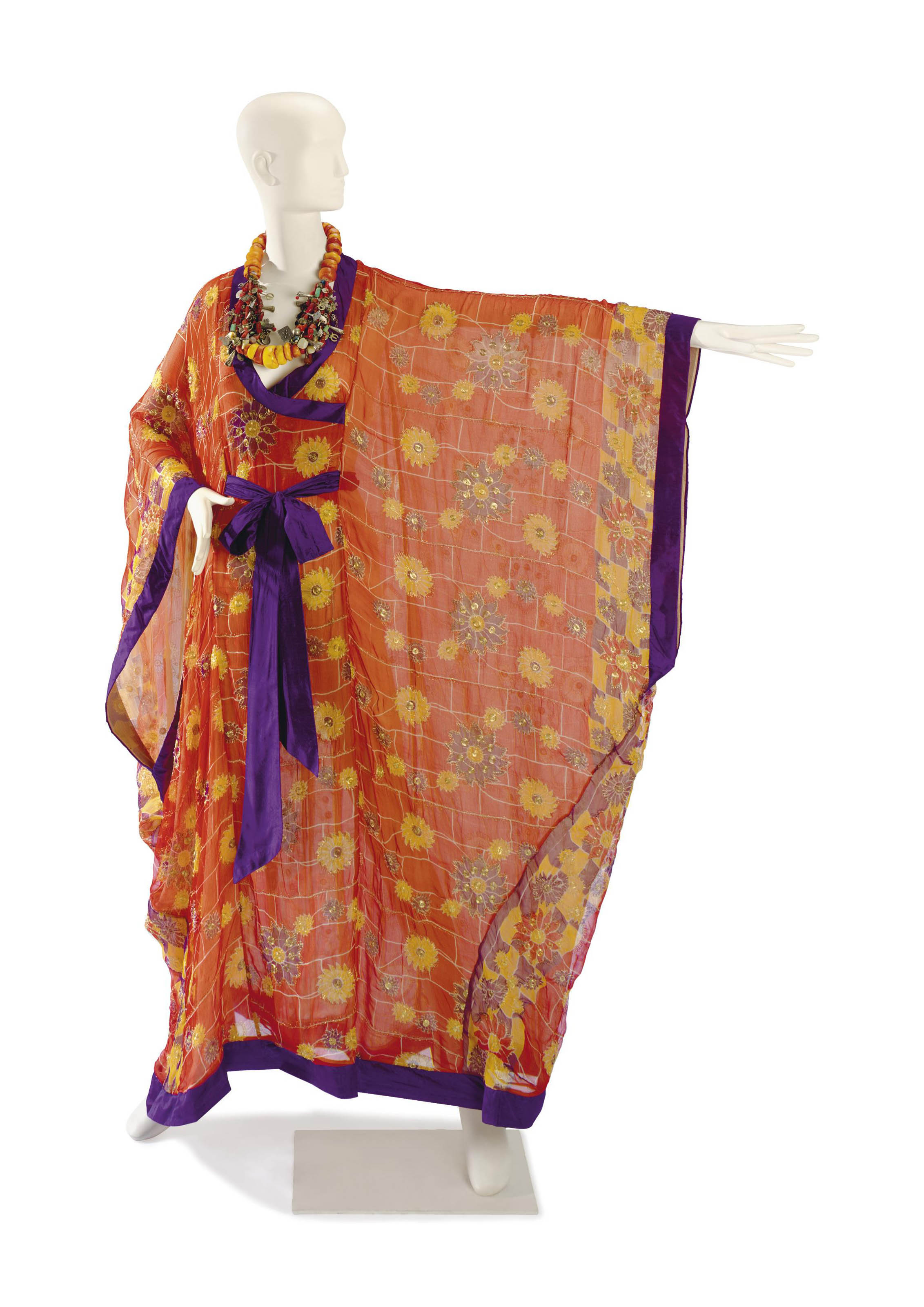 A THEA PORTER ORANGE CHIFFON CAFTAN AND ASSOCIATED TRADITIONAL CHARM NECKLACE