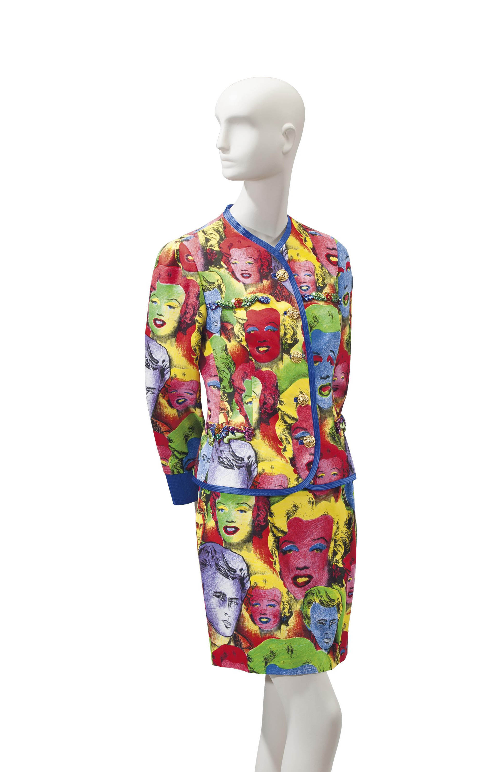 A VERSACE POLYCHROME WARHOL-INSPIRED IMAGERY SUIT