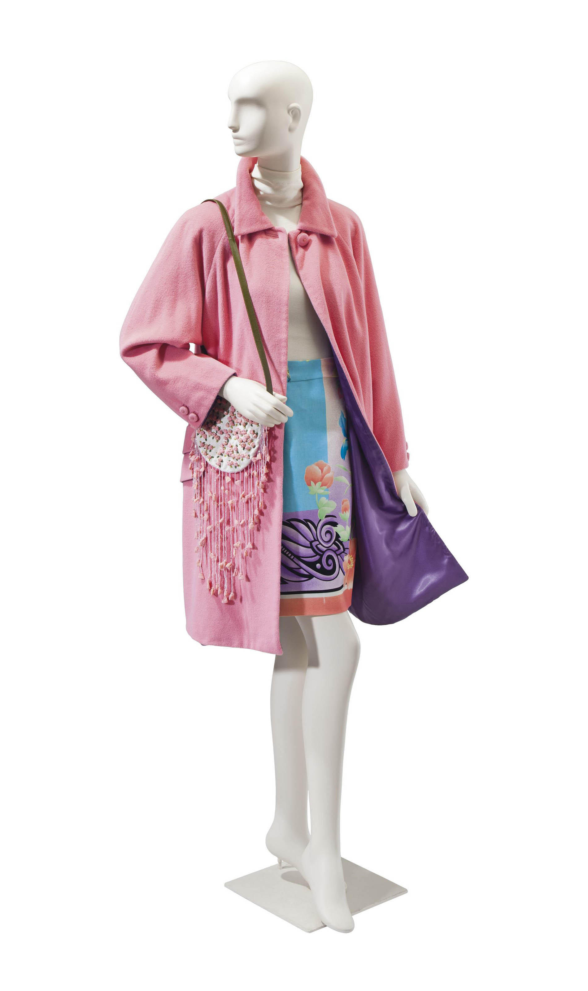 A VERSACE PINK WOOL COAT AND PRINT SKIRT WITH A VALENTINO BEADED HANDBAG
