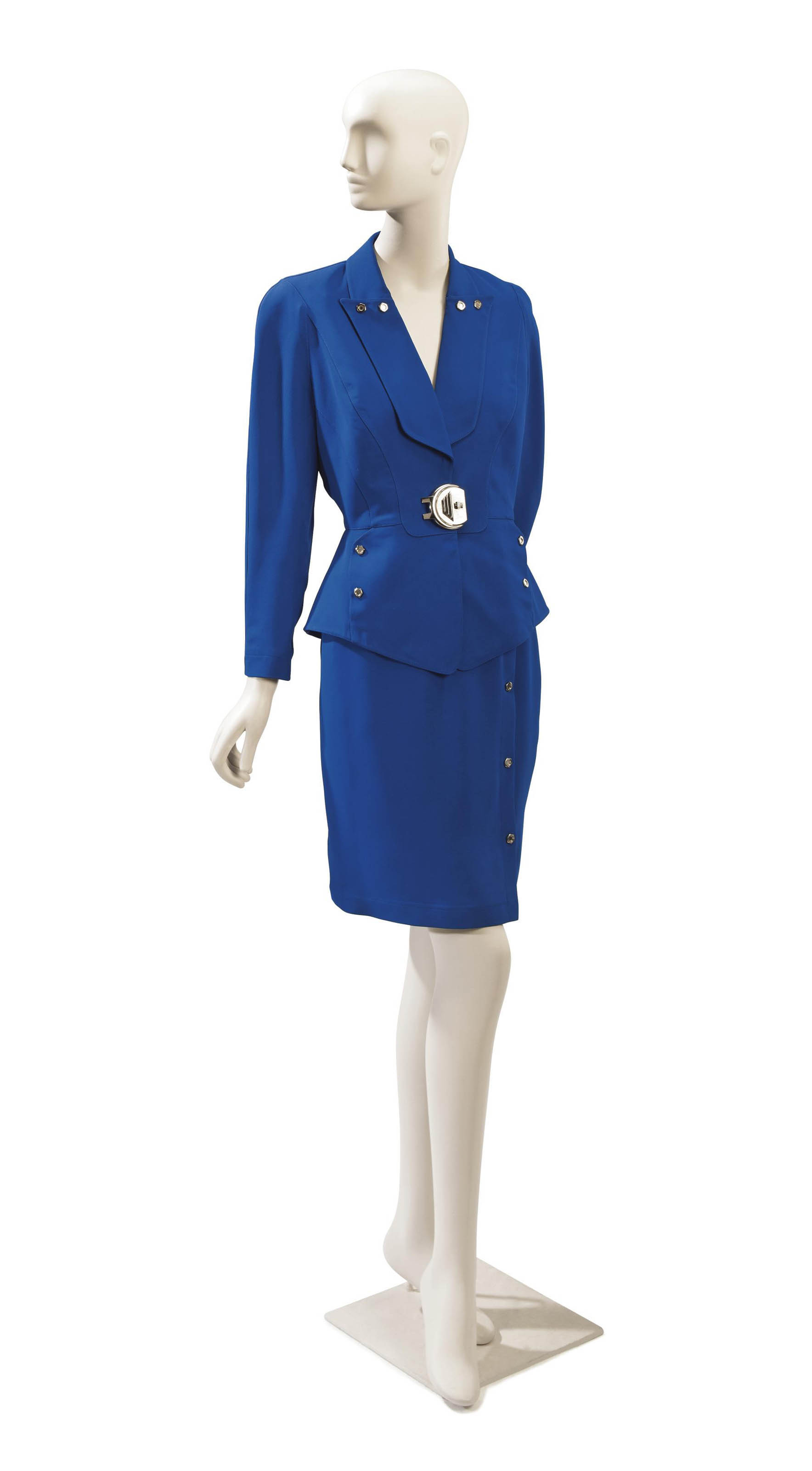A THIERRY MUGLER ROYAL BLUE AND SILVERED-METAL SUIT