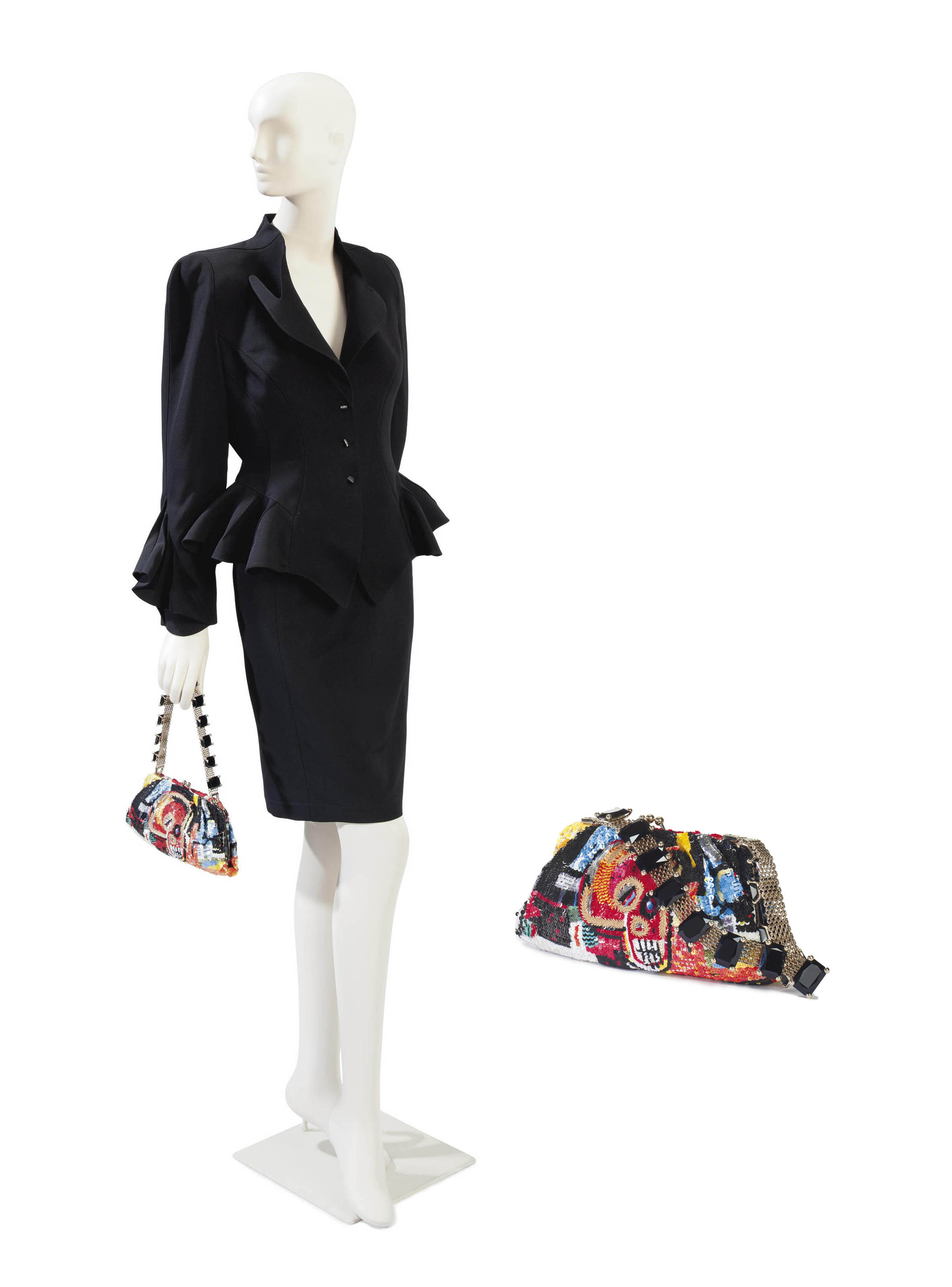 A THIERRY MUGLER BLACK WOOL SUIT AND A VALENTINO SEQUINNED HANDBAG