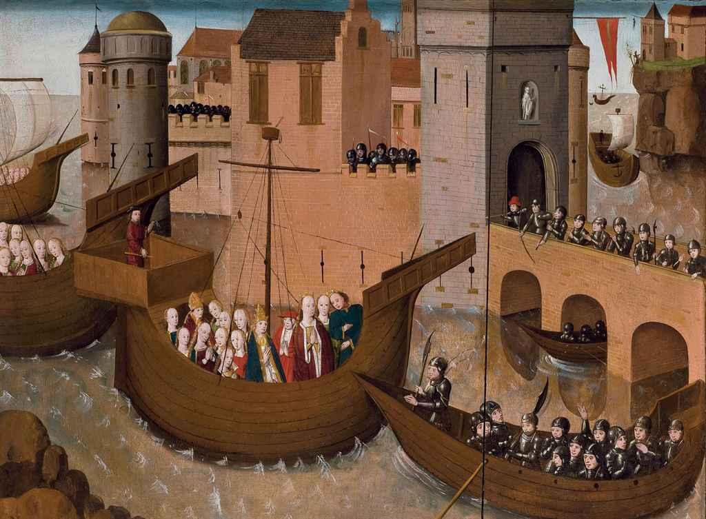 Sainte Ursule et les onze mille vierges arrivant à Bâle (recto); Sainte Catherine et deux écclésiastiques (verso)