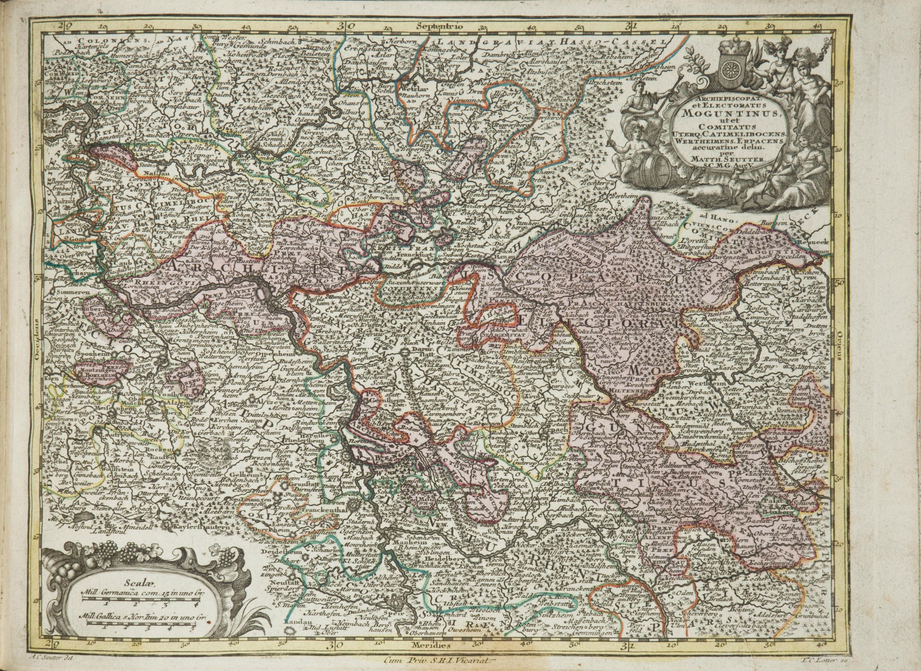 SEUTTER, Matthias (1685-1757). Atlas minor praecipua Terrarum Imperia, Regna et Provincias, Germaniae potissimum, tabellis 66. Augsbourg: Matthias Seutter [1744?].