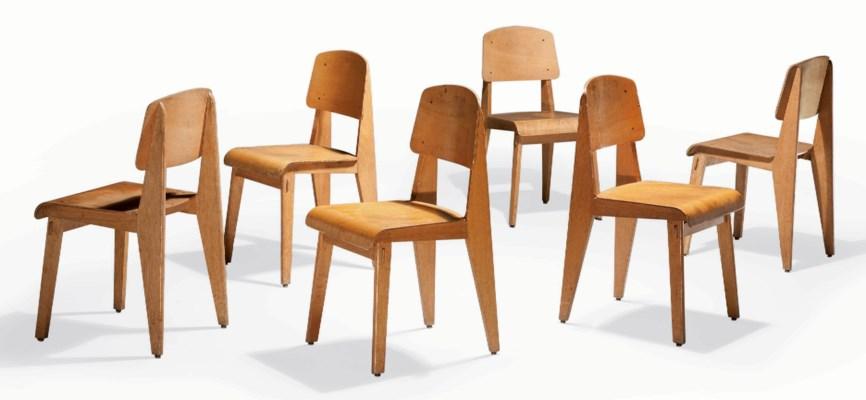 jean prouve 1901 1984 ensemble de six chaises 39 standard 39 vers 1942 christie 39 s. Black Bedroom Furniture Sets. Home Design Ideas