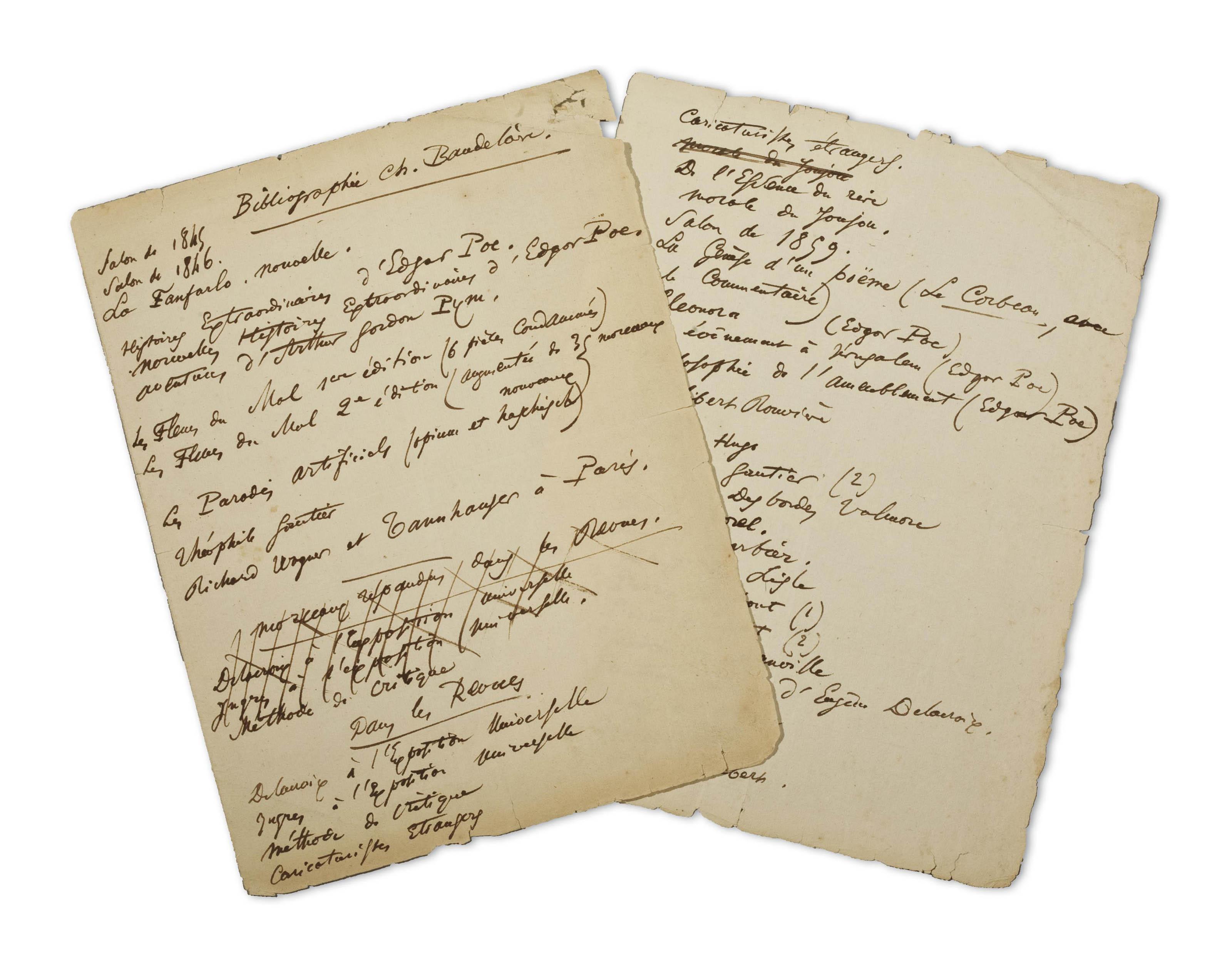 BAUDELAIRE, Charles (1821-1867). Bibliographie Ch. Baudelaire. 2 feuillets autographes in-4 (248 x 190 mm), ratures et corrections (petites déchirures marginales, un coin anciennement renforcé).