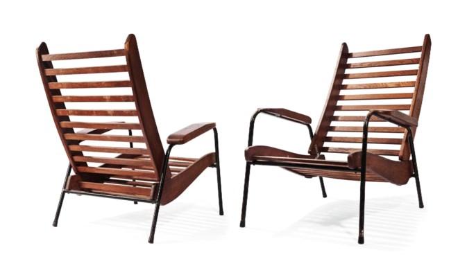 jean prouv 1901 1984 paire de fauteuils 39 visiteur. Black Bedroom Furniture Sets. Home Design Ideas