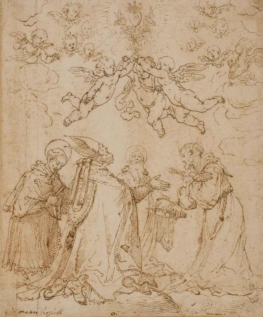 Evêque entouré de deux saints et d'un moine
