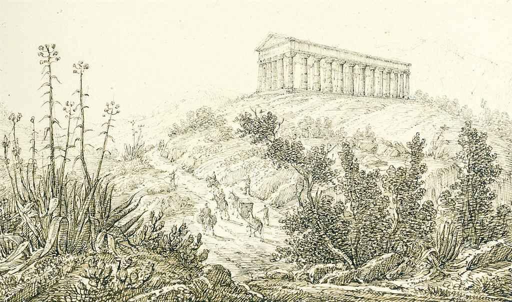 Album comprenant vingt-deux paysages siciliens incluant des vues de Palerme, Ségeste, Agrigente, Catane, Taormina, Messine, l'Etna et Stromboli