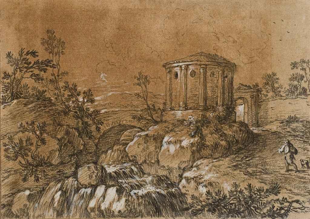 Temple de Vesta à Tivoli; et Deux paysages avec ruines antiques
