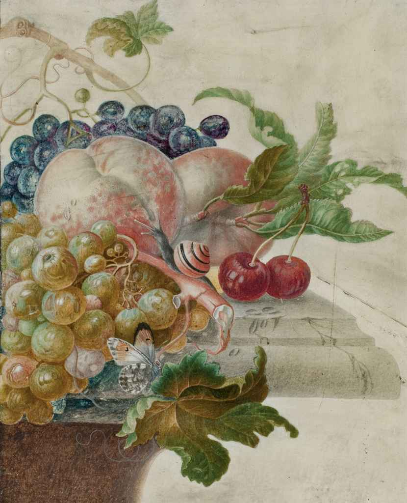 Raisins, pêches, cerises et insectes sur un entablement; et Liserons bleus, papillons et autres fleurs sur un entablement