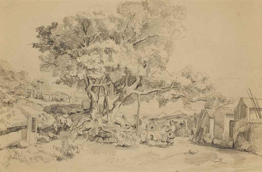 Groupe de figures discutant sous un arbre aux abords d'un village chinois