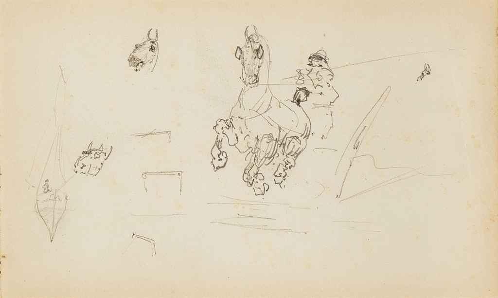 Trois feuilles d'études représentant des caricatures, des chevaux, des chiens et des cochons