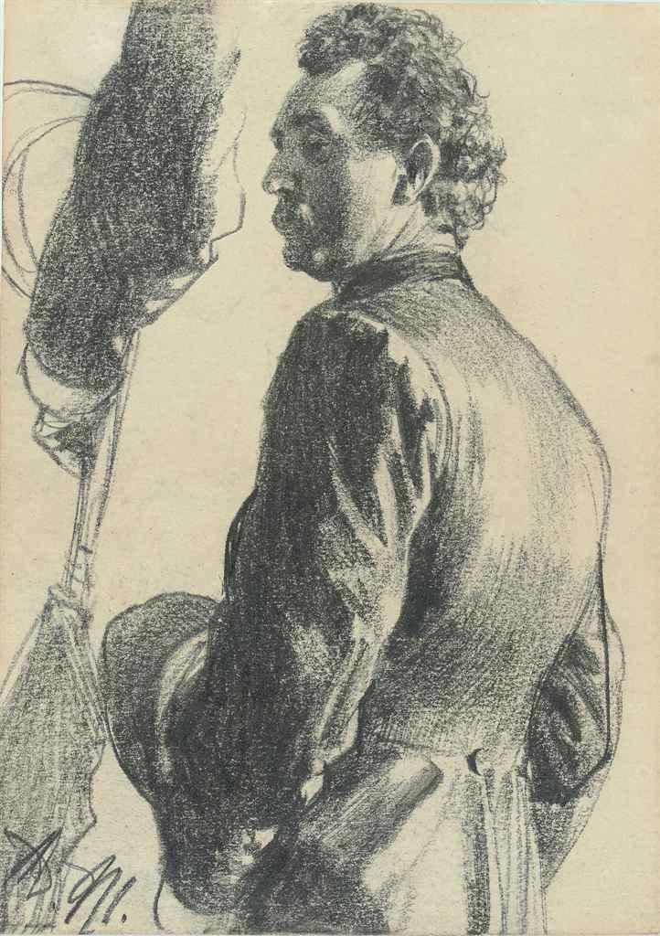 Homme vu de dos en redingote avec son chapeau à la main, étude subsidiaire du bras gauche