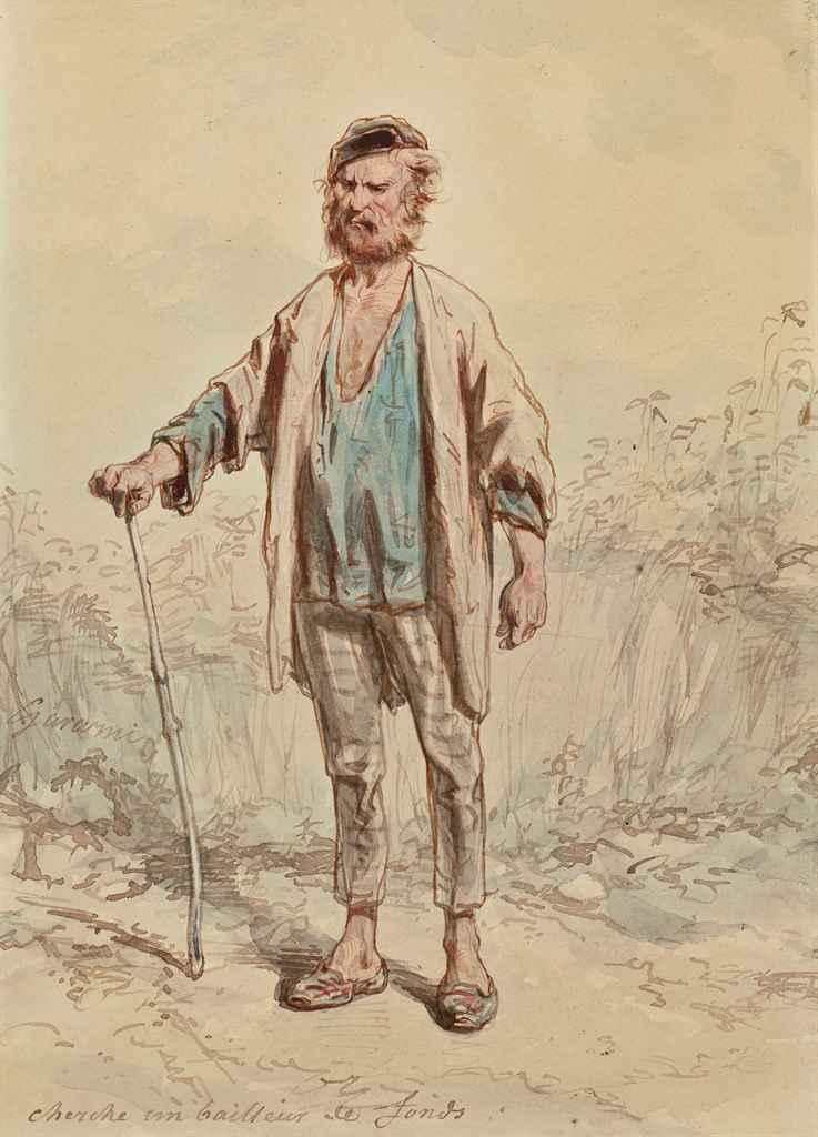 Homme debout appuyé sur une canne; Homme debout dans un intérieur