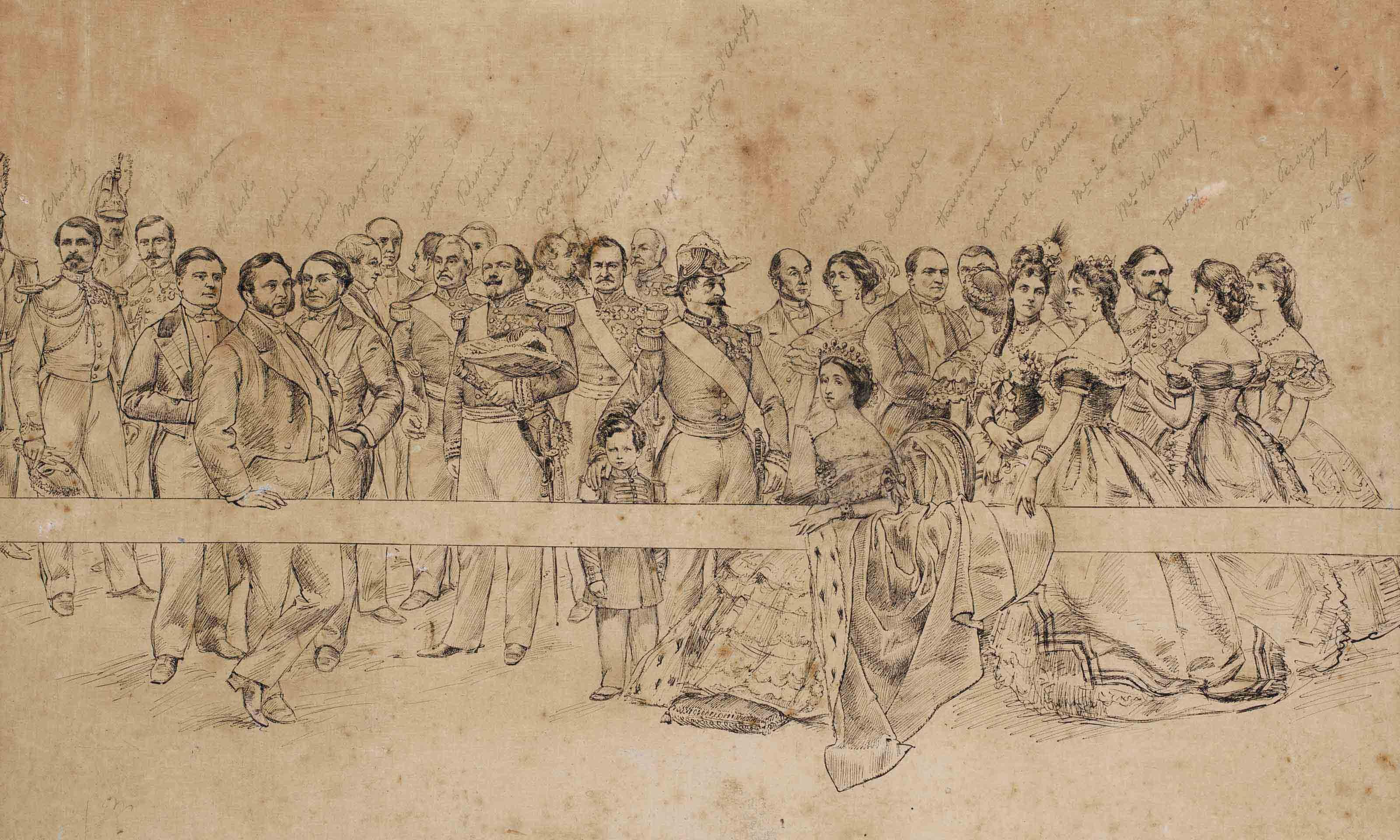 L'Impératrice Eugénie entourée de personnalités de la cour de Napoléon III dont Eugène Fould