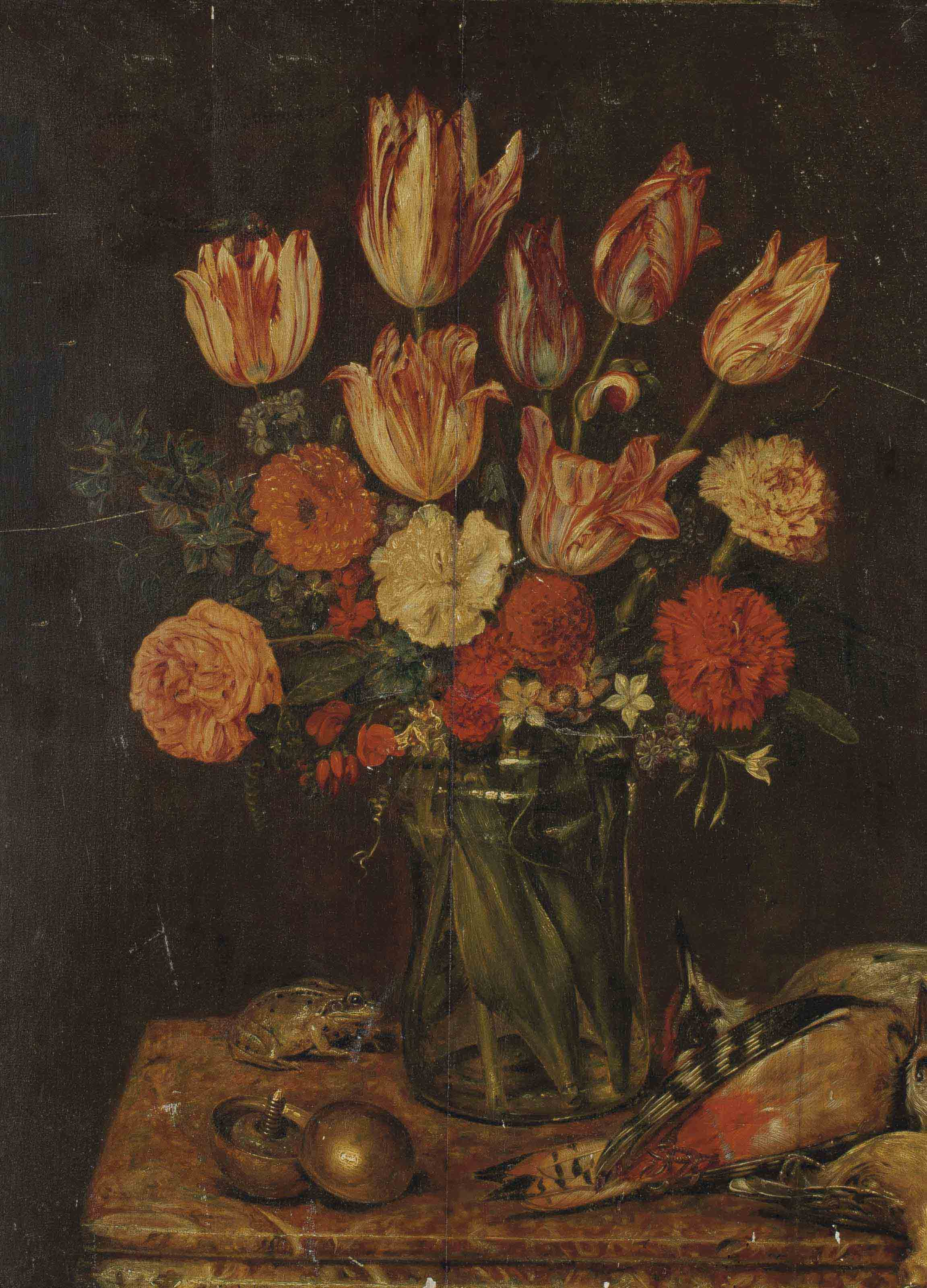 Fleurs, grenouille et oiseau