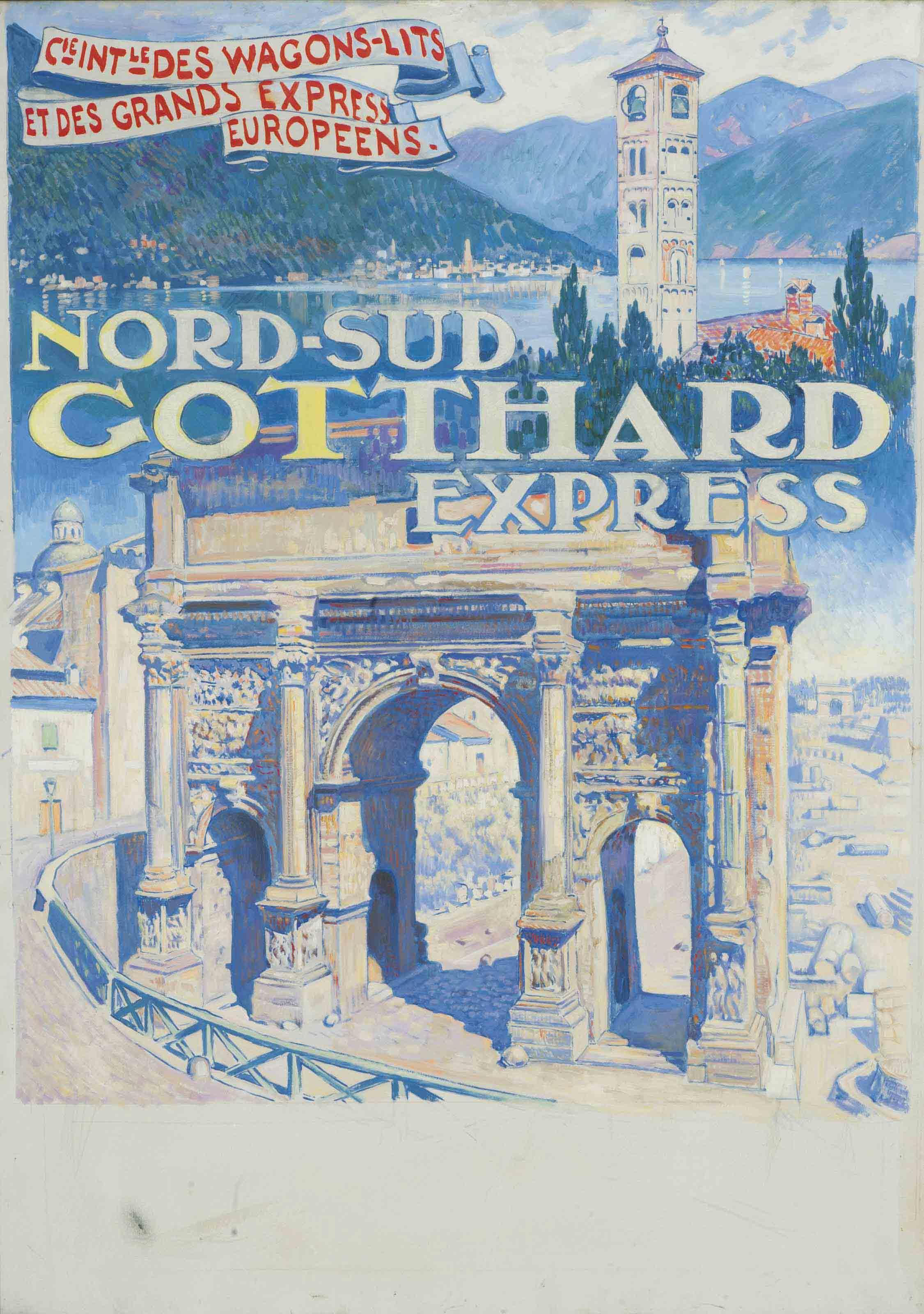 Nord-Sud Gotthard Express (Projet d'affiche pour La Compagnie des Wagons-Lits)