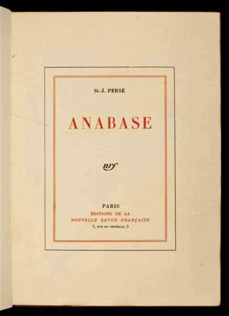 SAINT-JOHN PERSE, Alexis Léger, dit (1887-1975). Anabase. Paris: NRF, 1924.