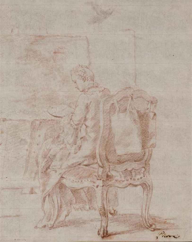 Une femme assise à son bureau peignant un paysage, dite 'L'Artiste'