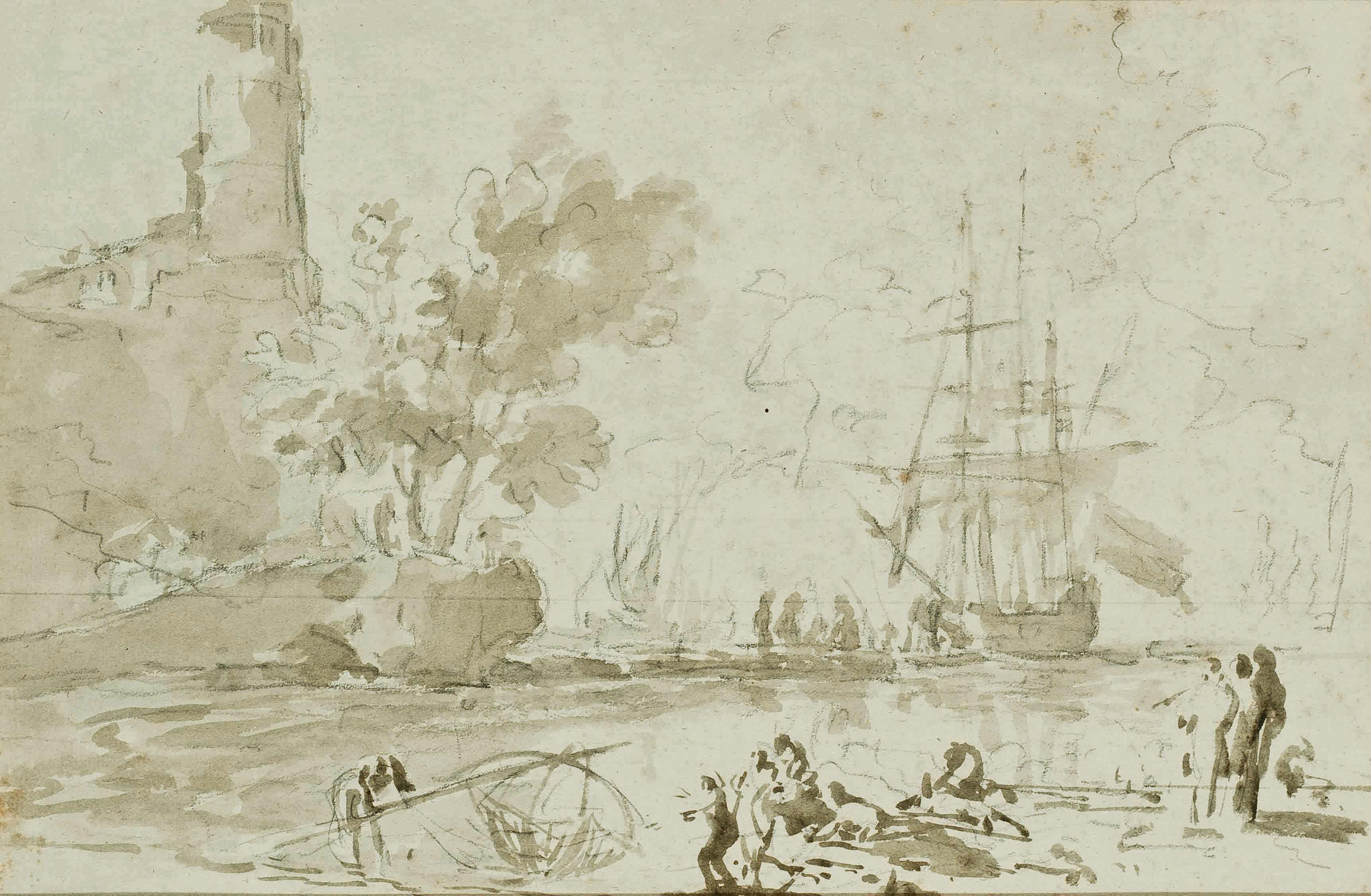 Pêcheurs remontant des filets à l'entrée d'un port