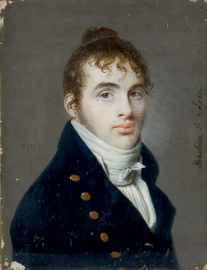 Portrait d'homme en buste à la veste bleue