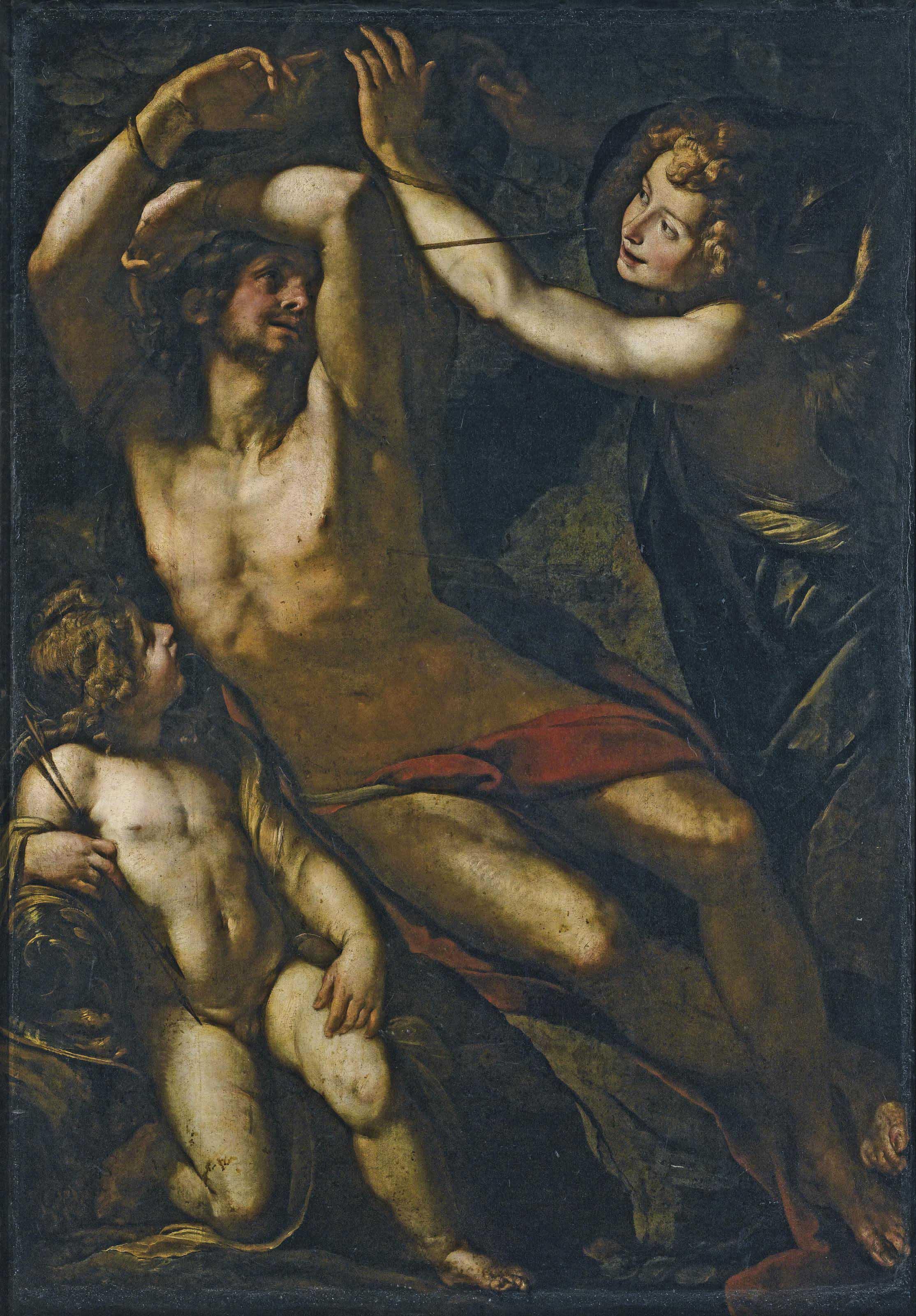 San Sebastiano e due angeli