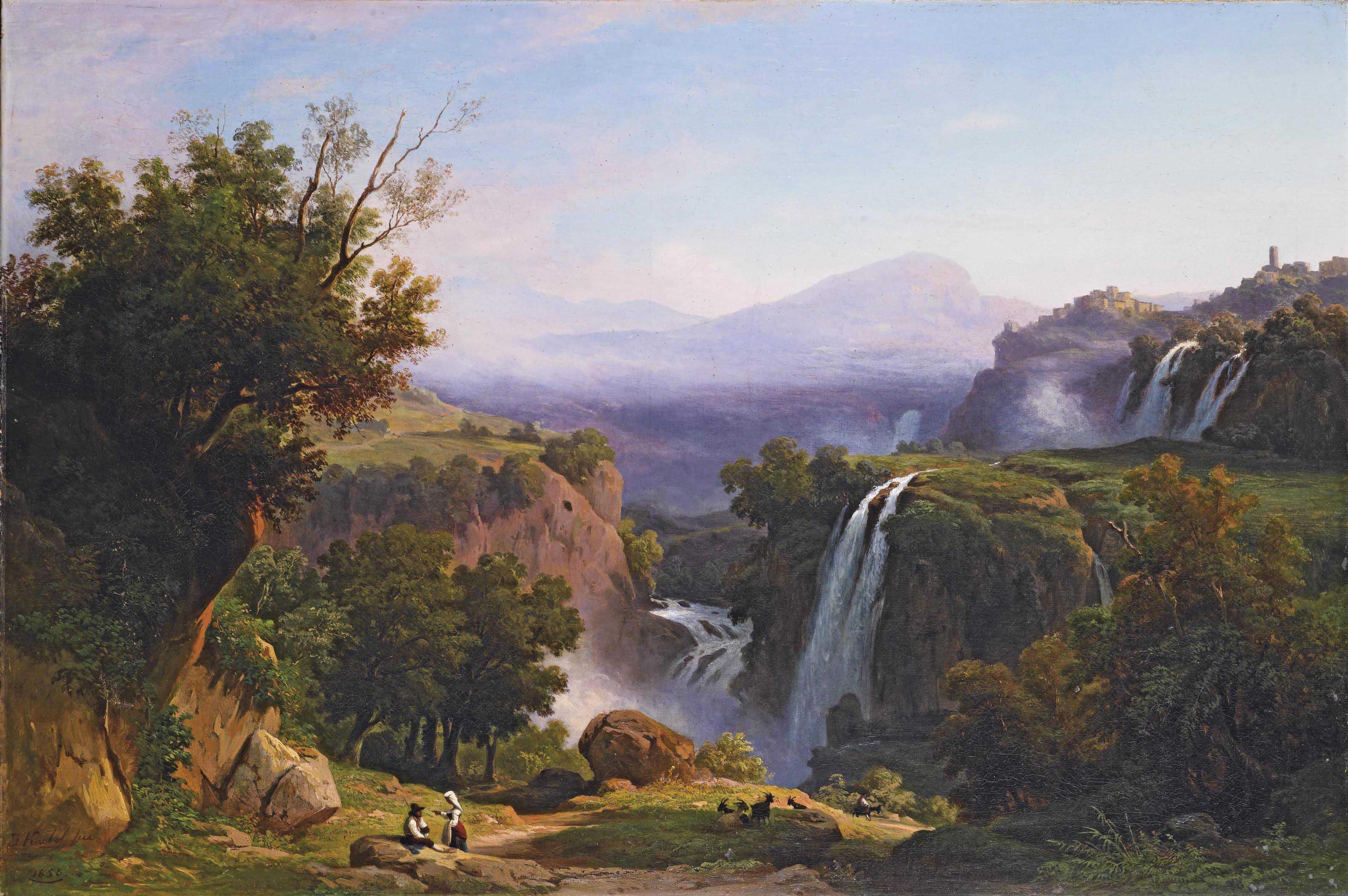 Veduta di Tivoli con le cascatelle