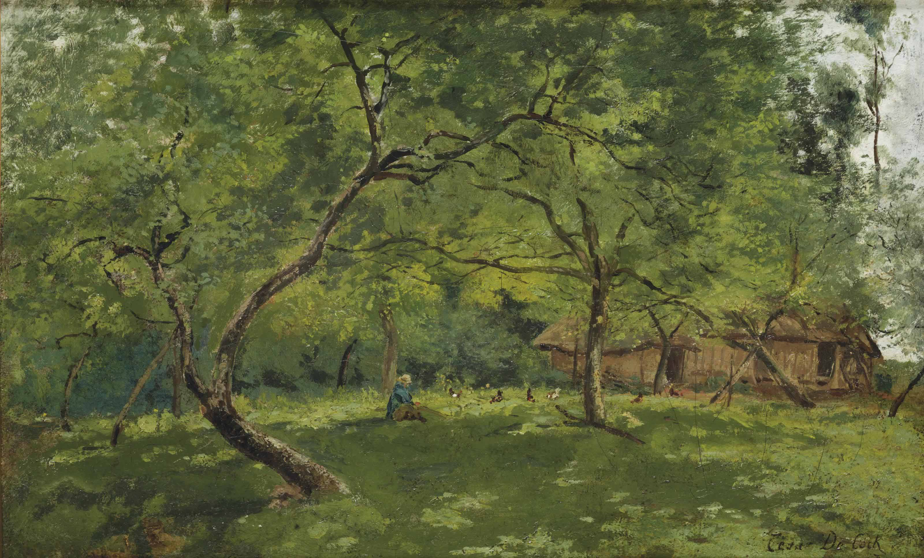 A farm in a wooded landscape
